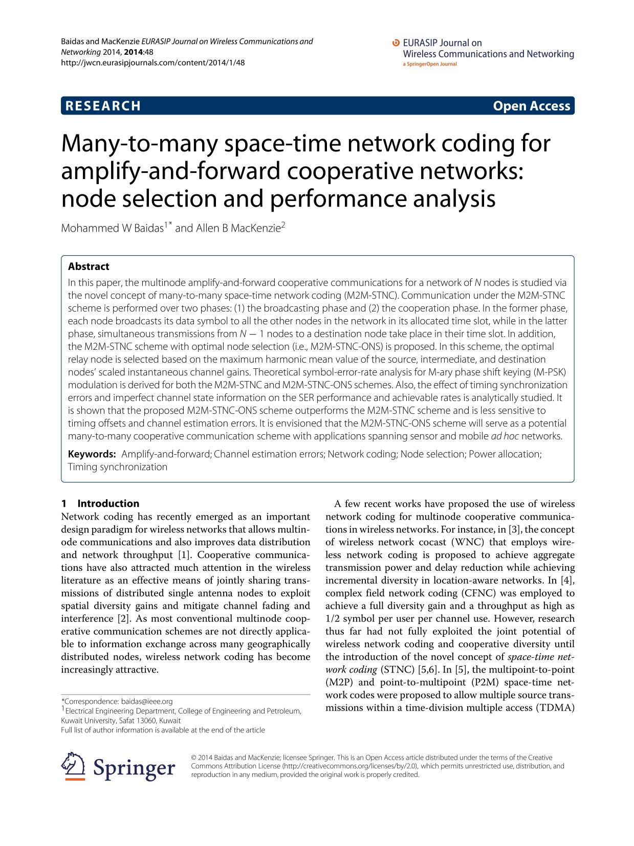 Book cover Many-to-many space-time network coding for amplify-and-forward cooperative networks: node selection and performance analysis