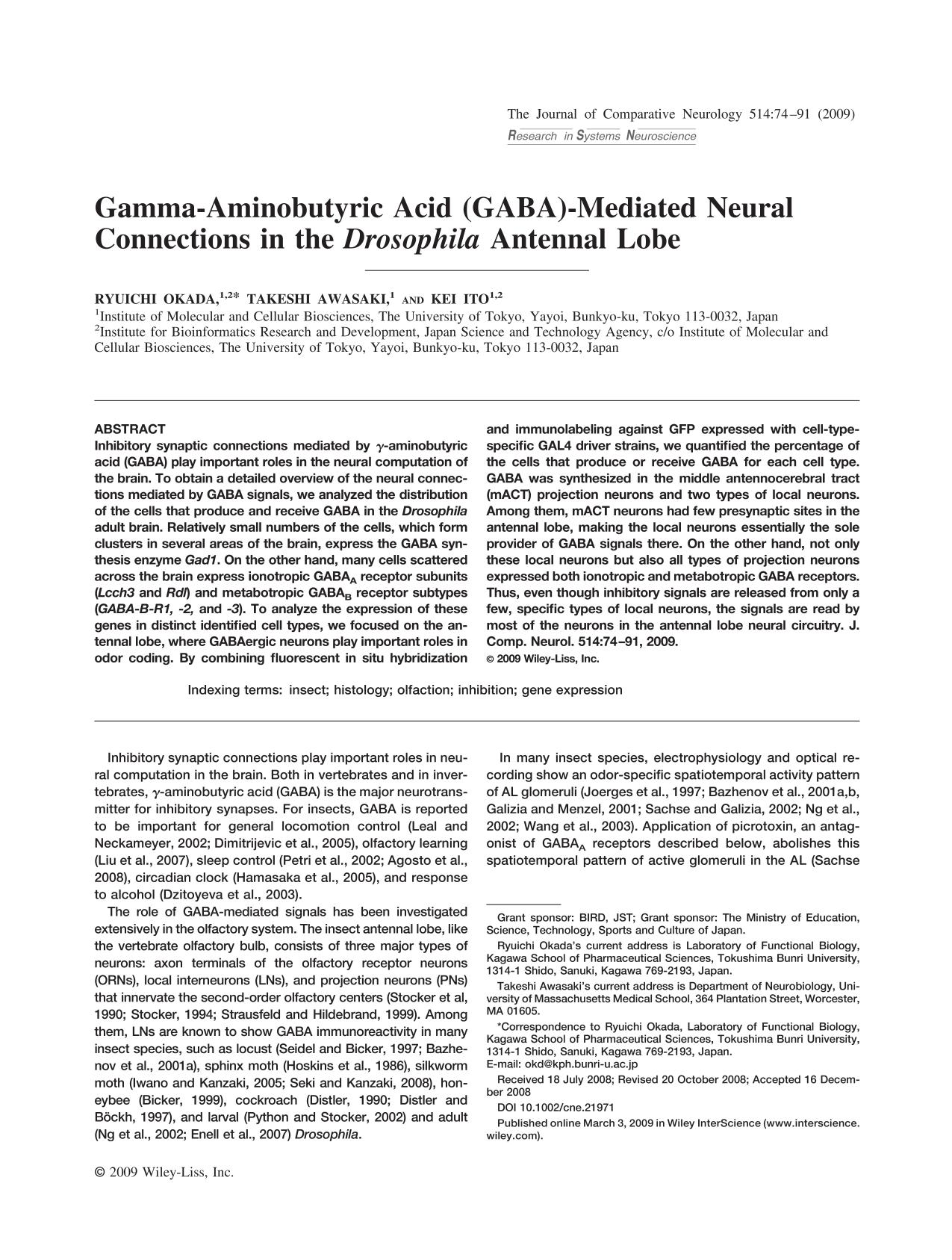 Book cover Gamma-aminobutyric acid (GABA)-mediated neural connections in the <em>Drosophila</em> antennal lobe