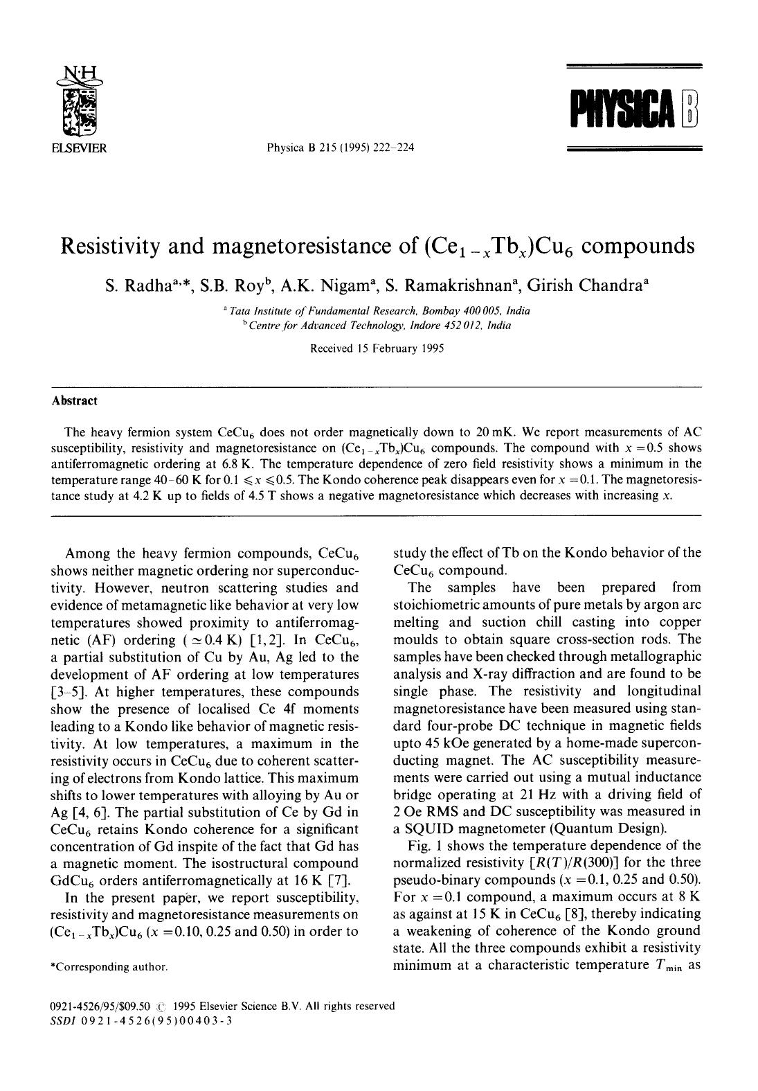 Book cover Resistivity and magnetoresistance of (Ce1−xTbx)Cu6 compounds