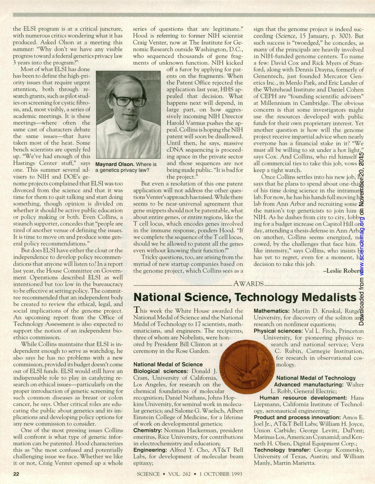 Book cover National Science, Technology Medalists
