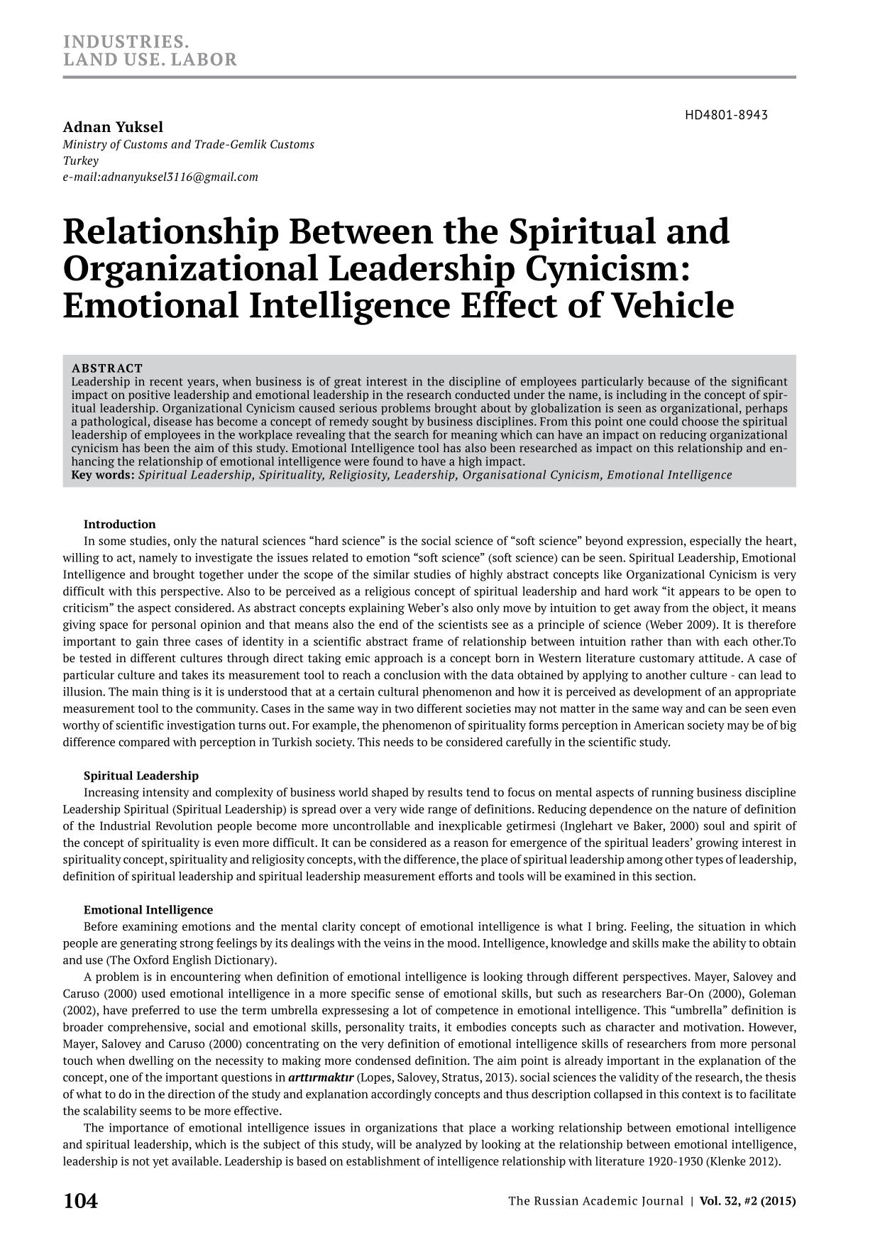 Book cover Relationship Between the Spiritual and Organizational Leadership Cynicism: Emotional Intelligence Effect of Vehicle