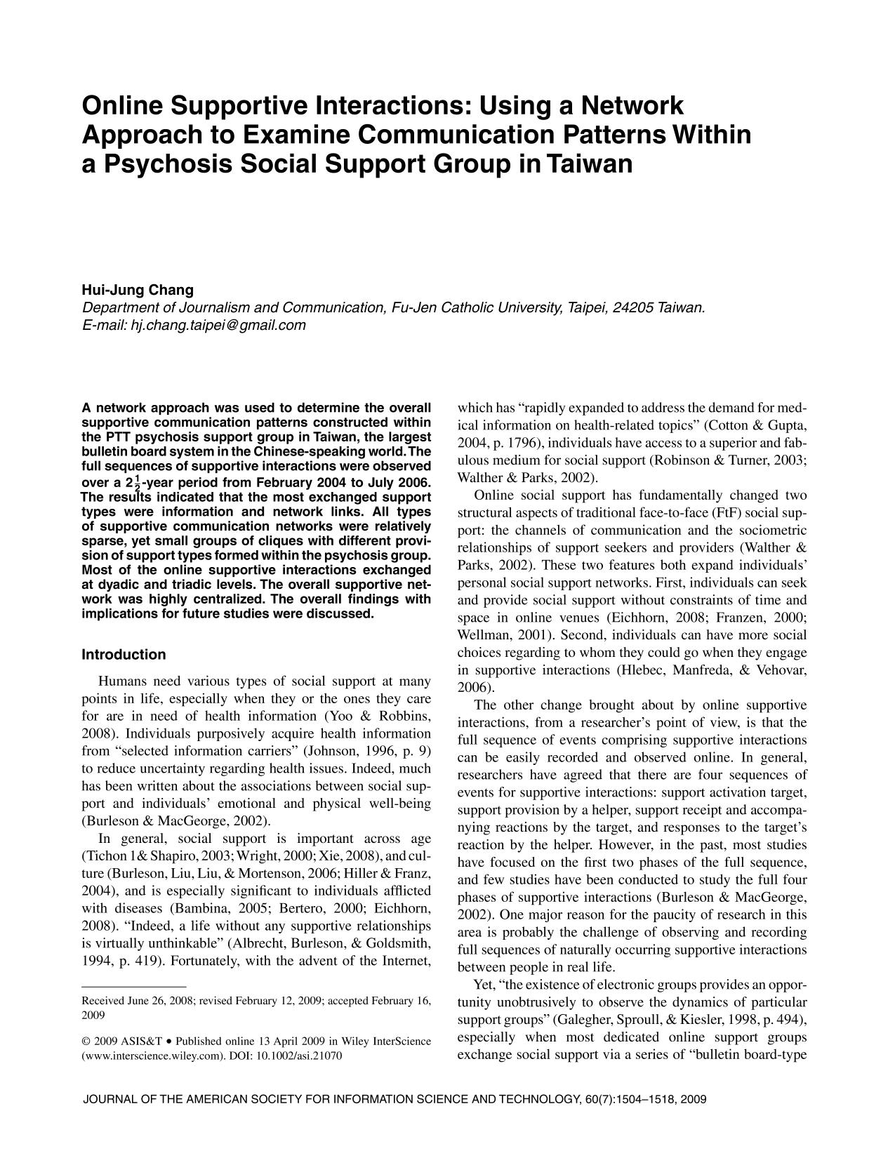 Book cover Online supportive interactions: Using a network approach to examine communication patterns within a psychosis social support group in Taiwan