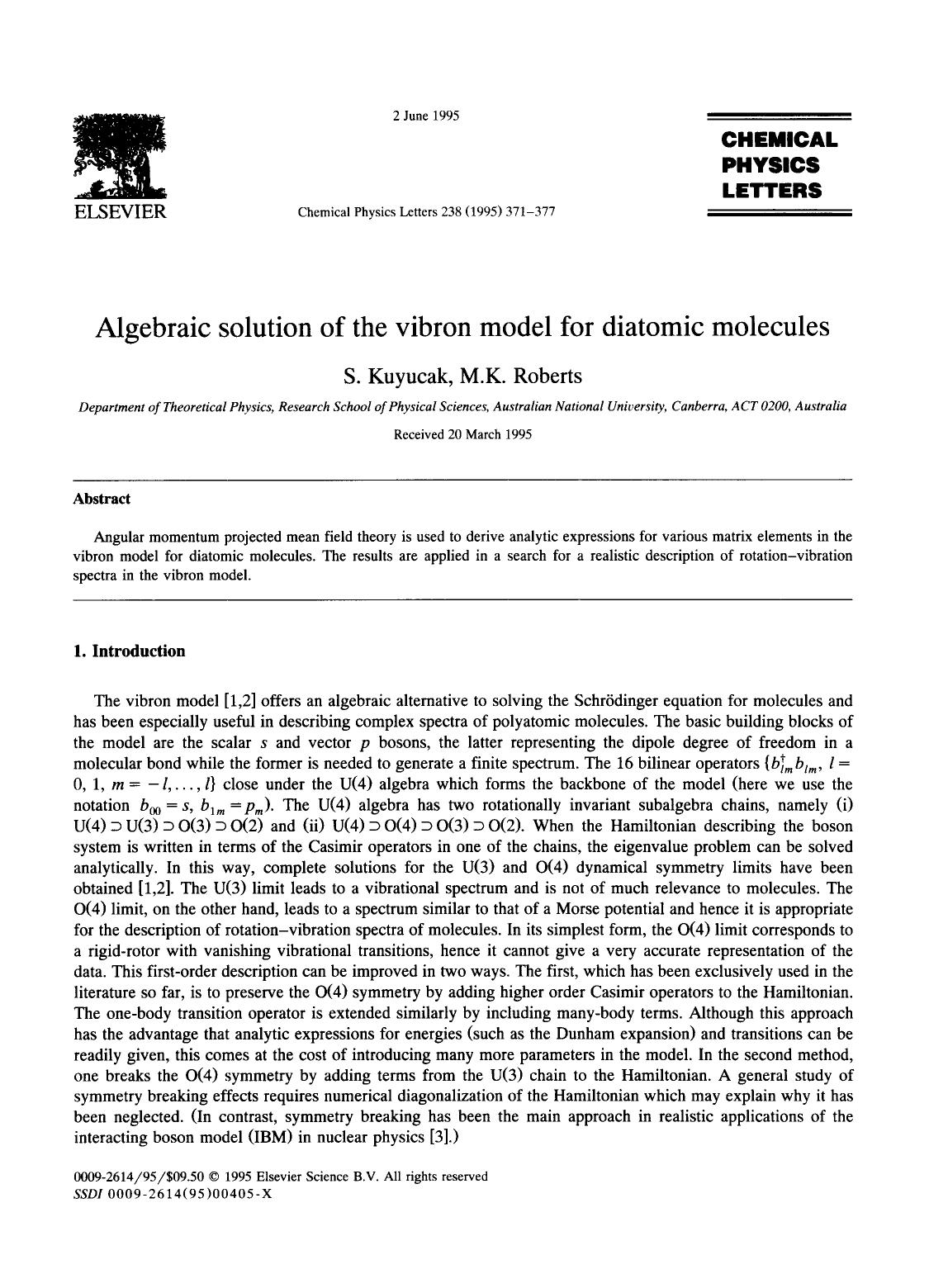 Kover buku Algebraic solution of the vibron model for diatomic molecules