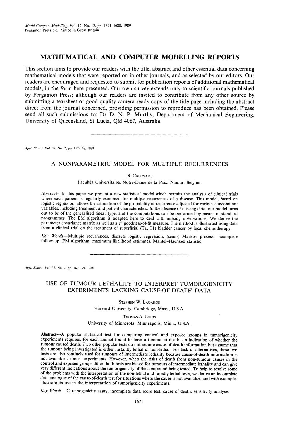 Book cover Mathematical and computer modelling reports