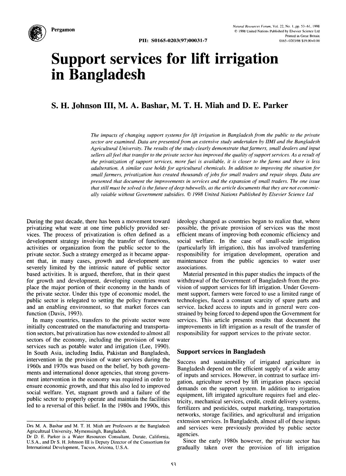 Book cover Support services for lift irrigation in Bangladesh