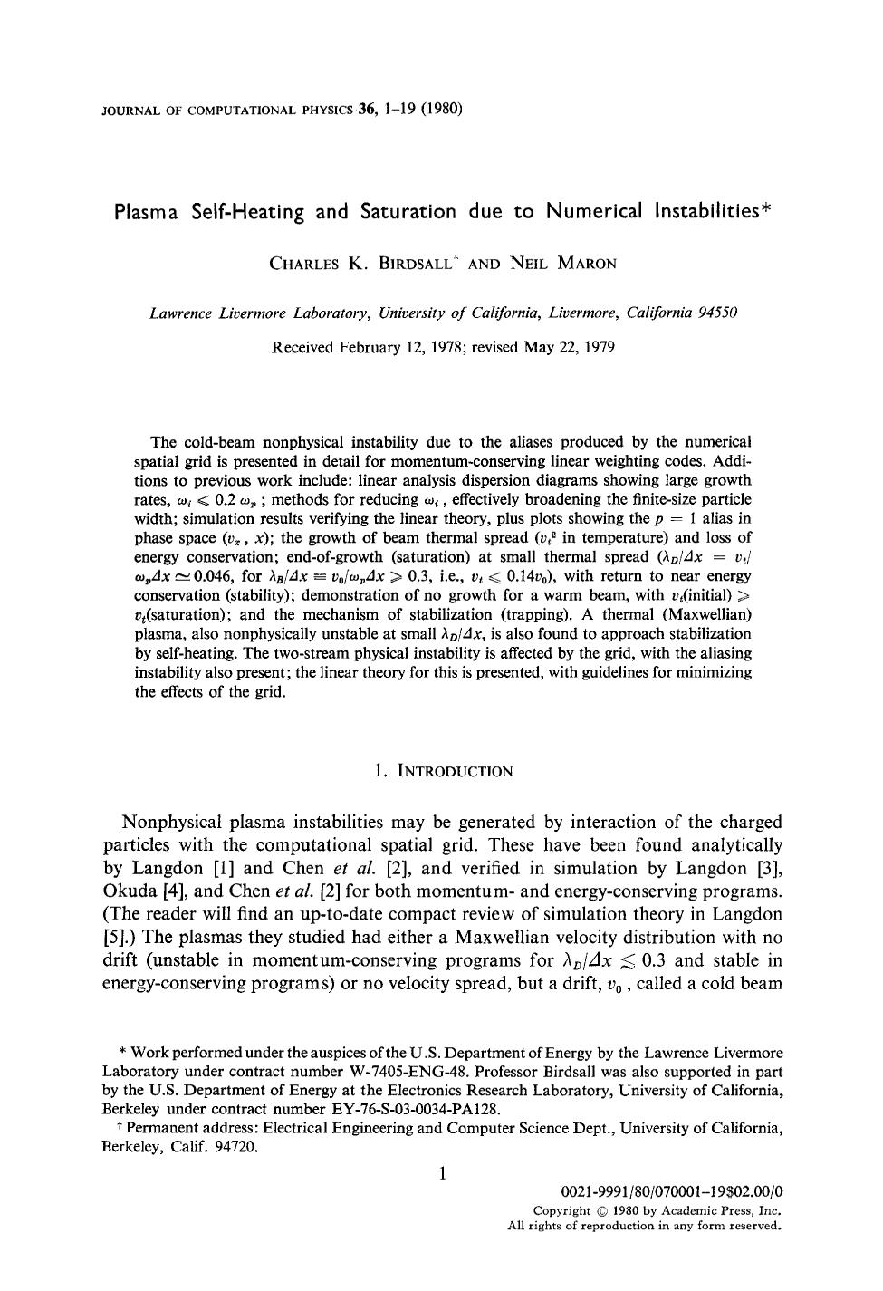 Book cover Plasma self-heating and saturation due to numerical instabilities
