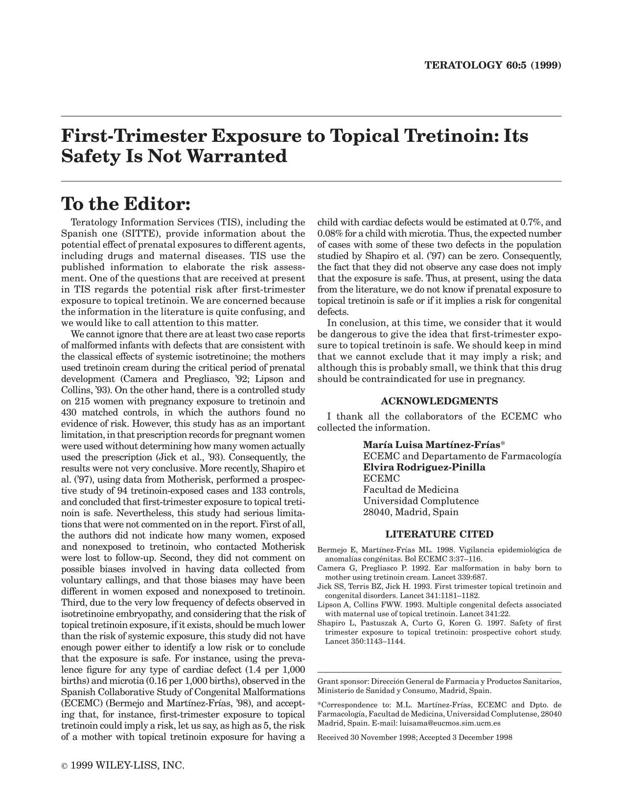 Book cover First-trimester exposure to topical tretinoin: Its safety is not warranted