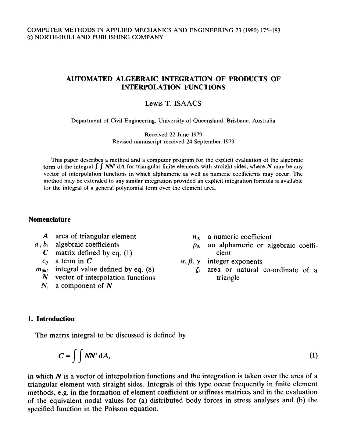 Book cover Automated algebraic integration of products of interpolation functions