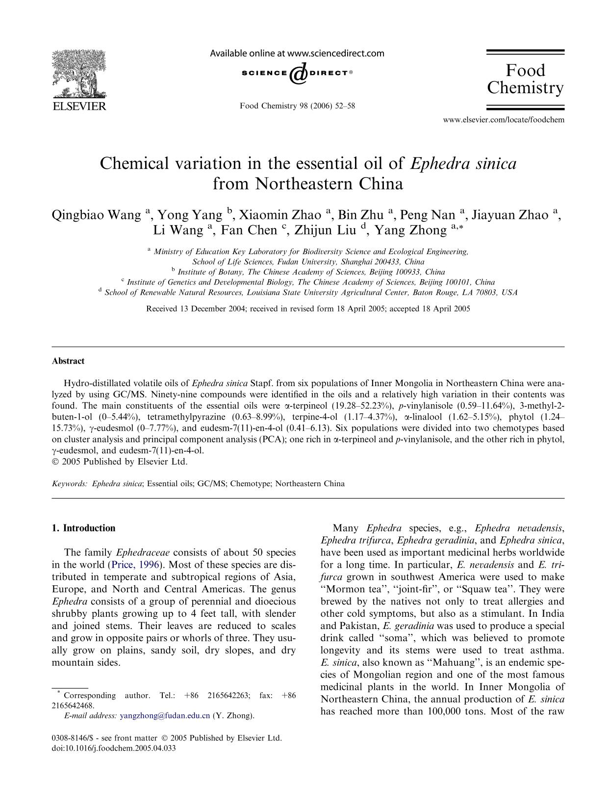 Book cover Chemical variation in the essential oil ofEphedra sinica from Northeastern China