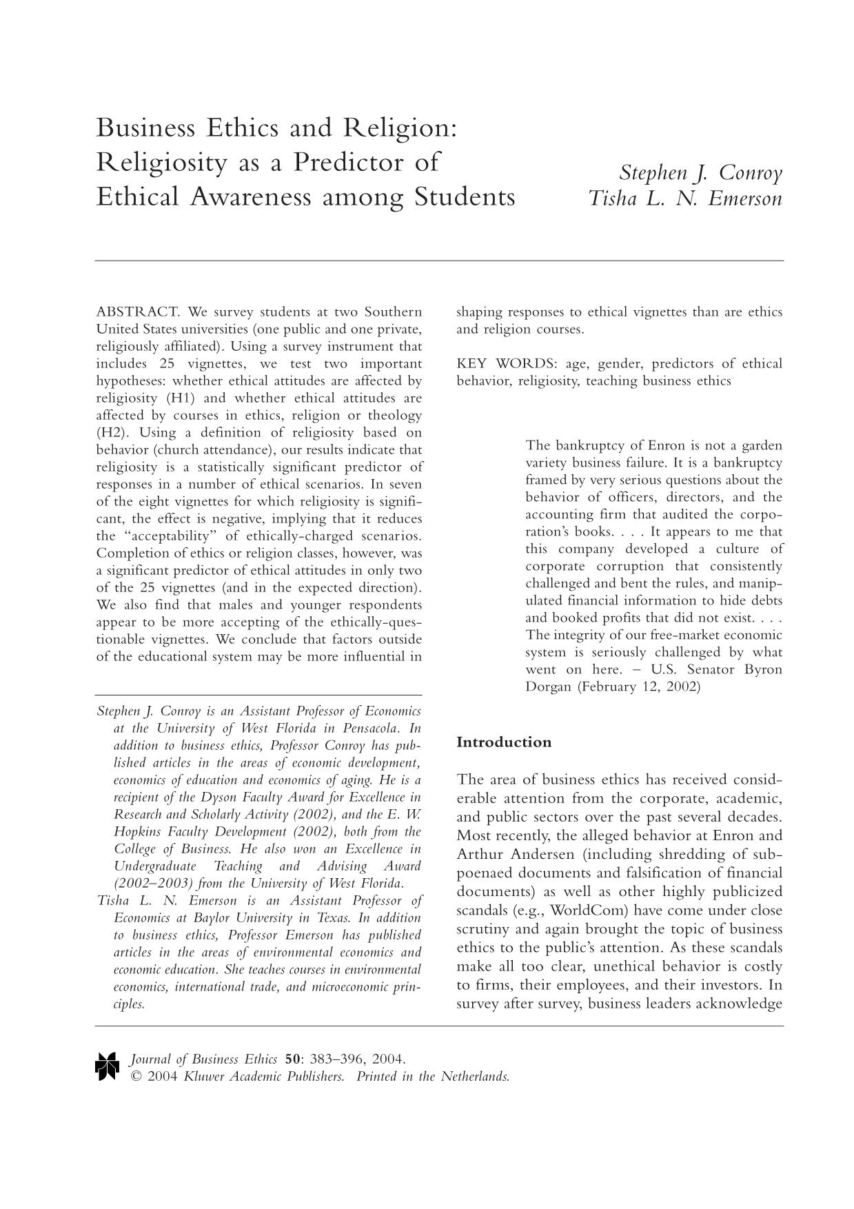 Book cover Business Ethics and Religion: Religiosity as a Predictor of Ethical Awareness Among Students