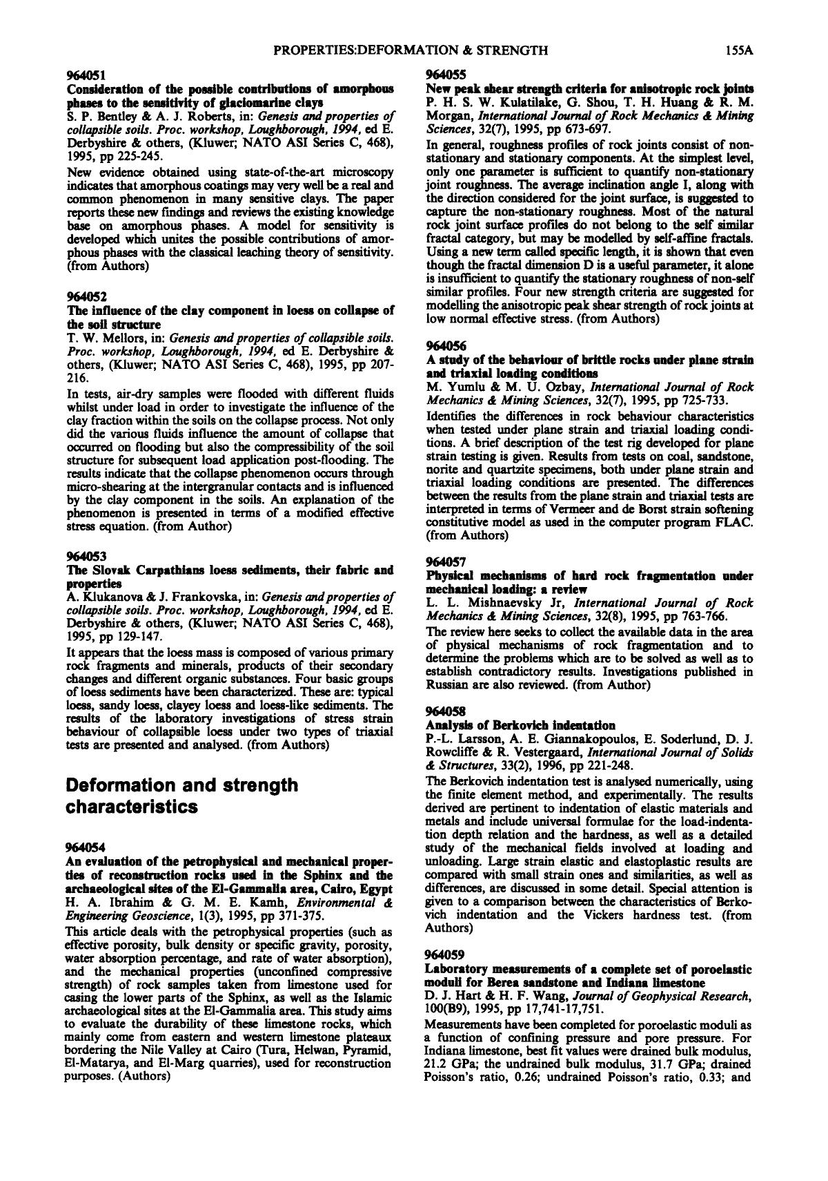 Book cover Laboratory measurements of a complete set of poroelastic moduli for Berea sandstonne and Indian limestone: D. J. Hart & H. F. Wang, Journal of Geophysical Research, 100(B9), 1995, pp 17,741-17,751.