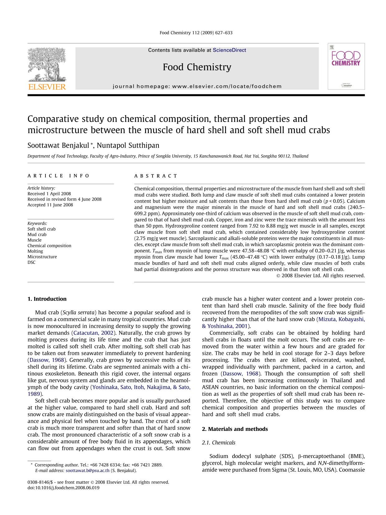 Book cover Comparative study on chemical composition, thermal properties and microstructure between the muscle of hard shell and soft shell mud crabs