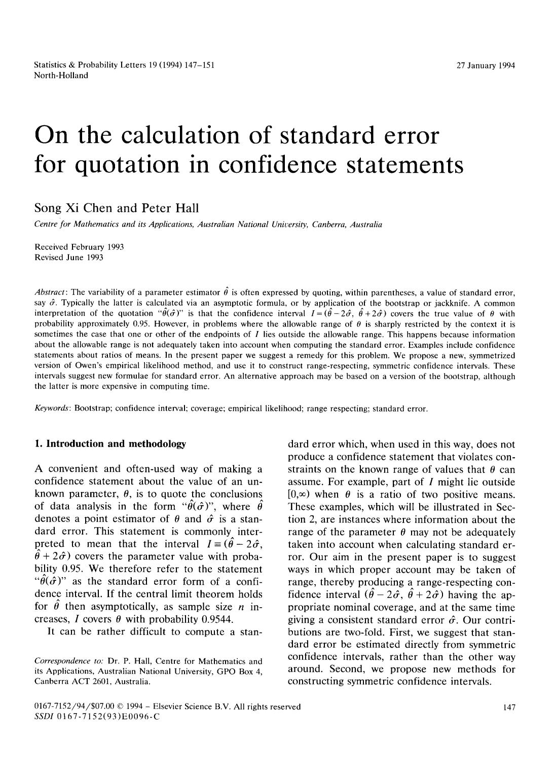 Book cover On the calculation of standard error for quotation in confidence statements