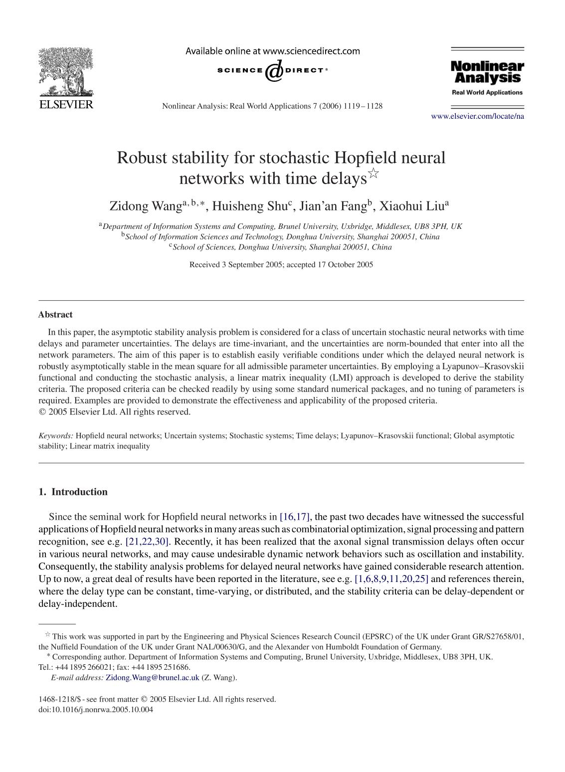 Book cover Robust stability for stochastic Hopfield neural networks with time delays