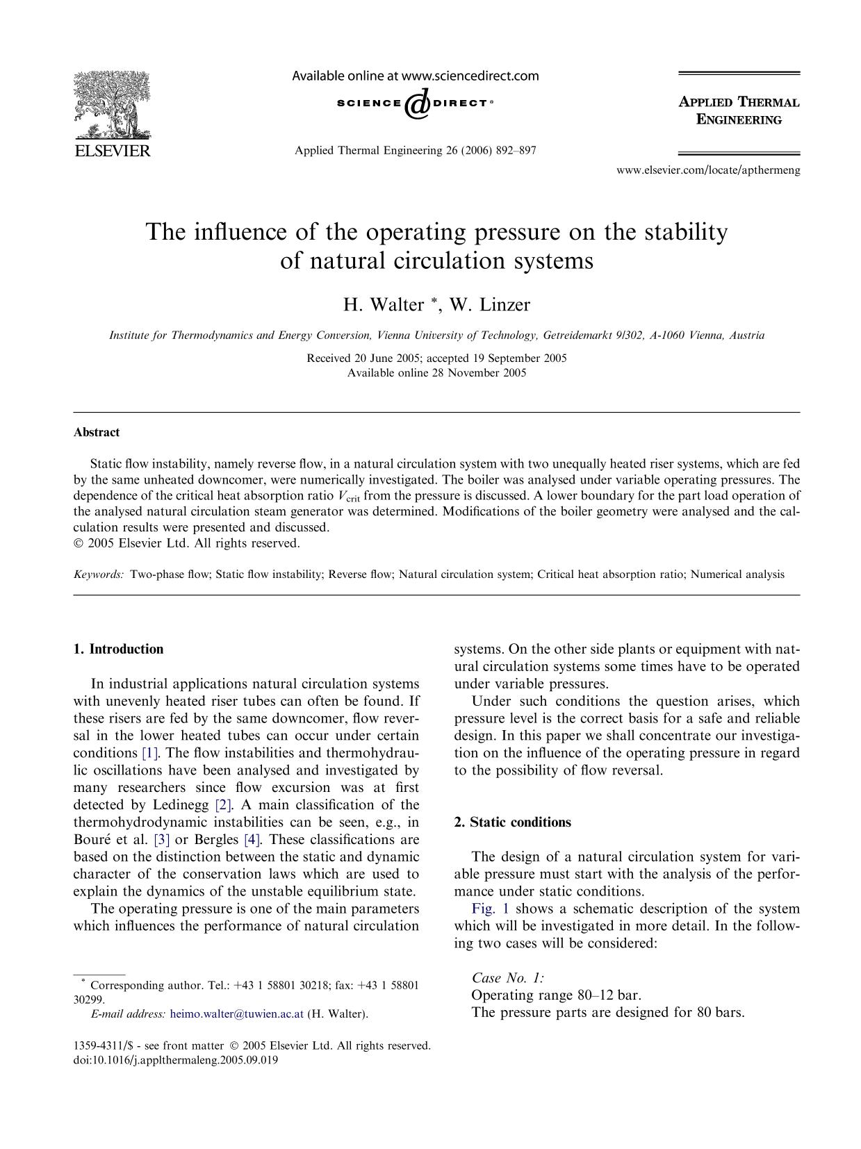 Book cover The influence of the operating pressure on the stability of natural circulation systems
