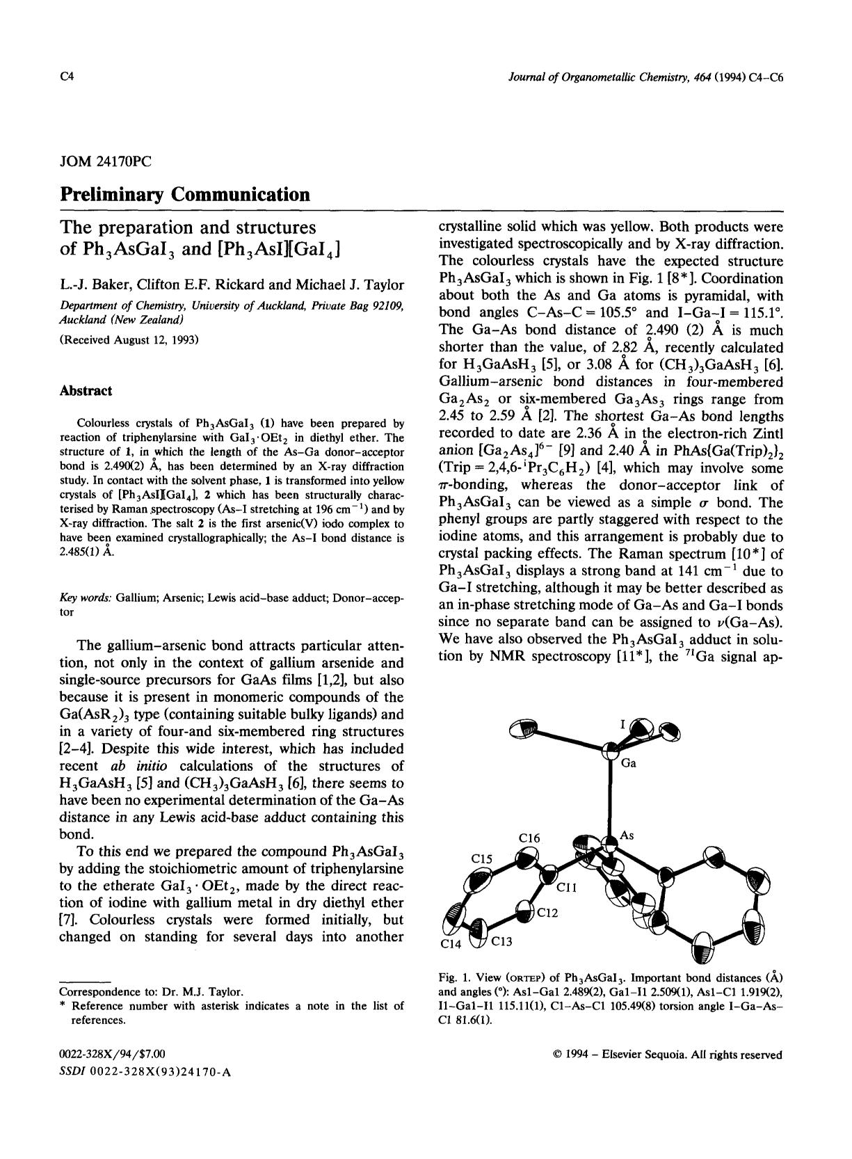 Book cover The preparation and structures of Ph3AsGaI3 and [Ph3AsI][GaI4]
