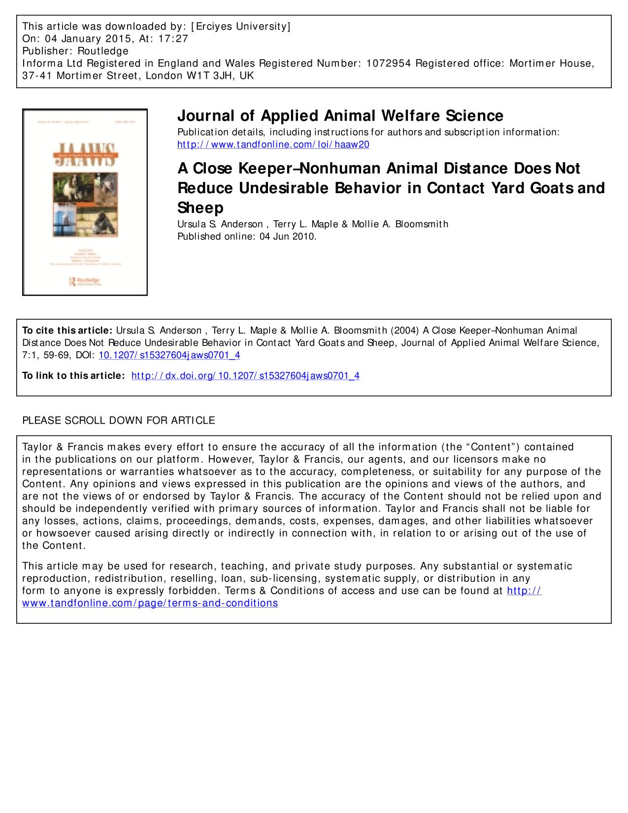 Book cover A Close Keeper–Nonhuman Animal Distance Does Not Reduce Undesirable Behavior in Contact Yard Goats and Sheep