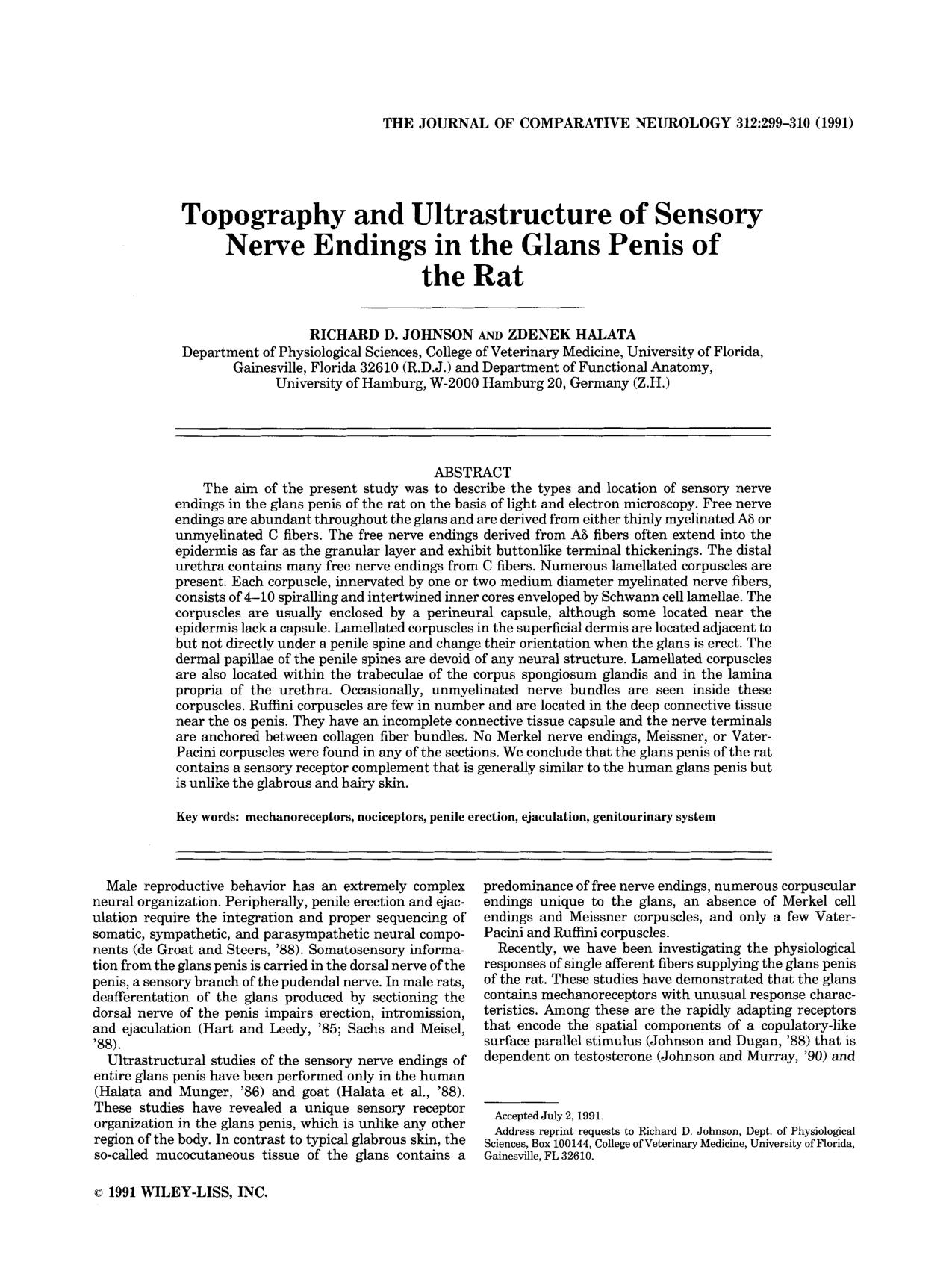 Book cover Topography and ultrastructure of sensory nerve endings in the glans penis of the rat