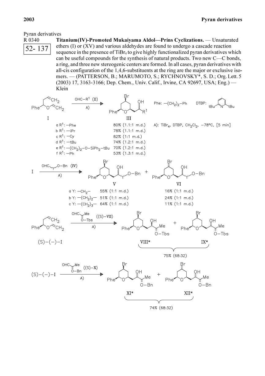 Book cover Titanium(IV)-Promoted Mukaiyama Aldol—Prins Cyclizations.<span></span>