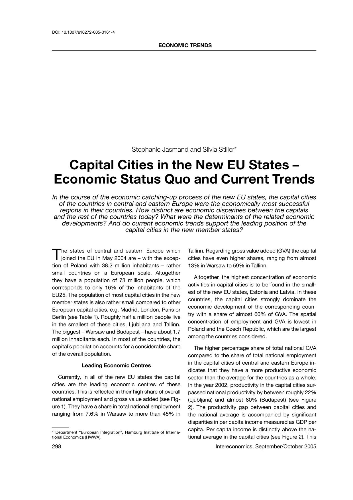Book cover Capital Cities in the New EU States—Economic Status Quo and Current Trends