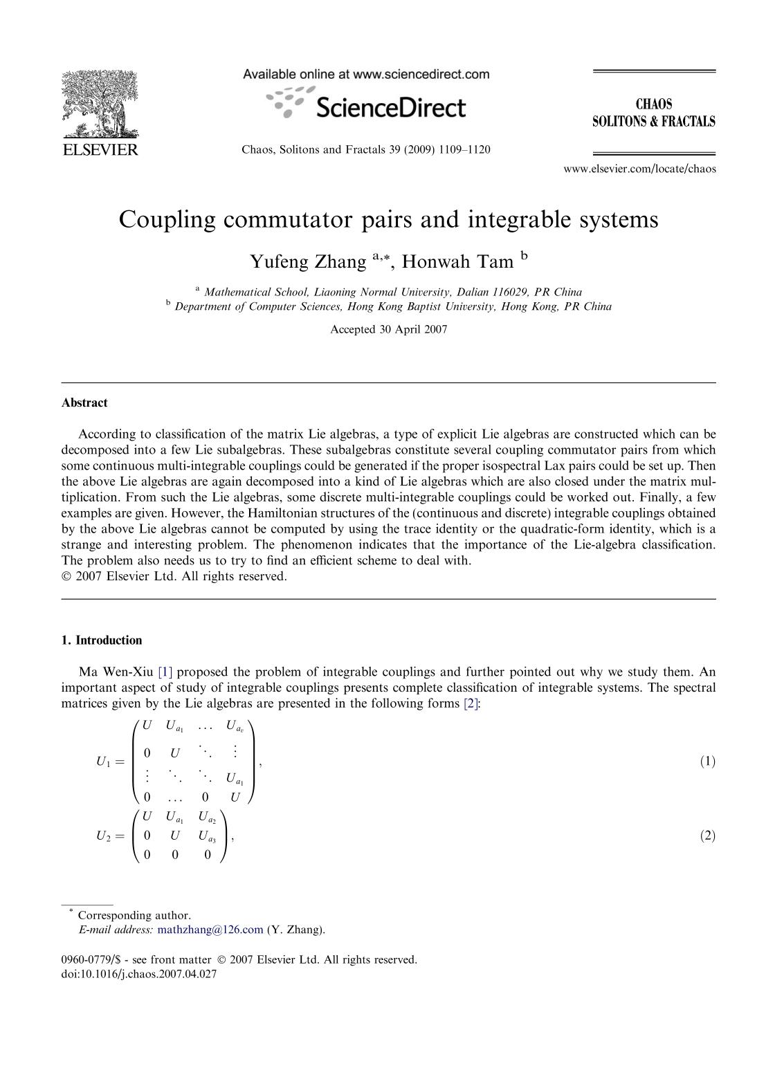 Book cover Coupling commutator pairs and integrable systems