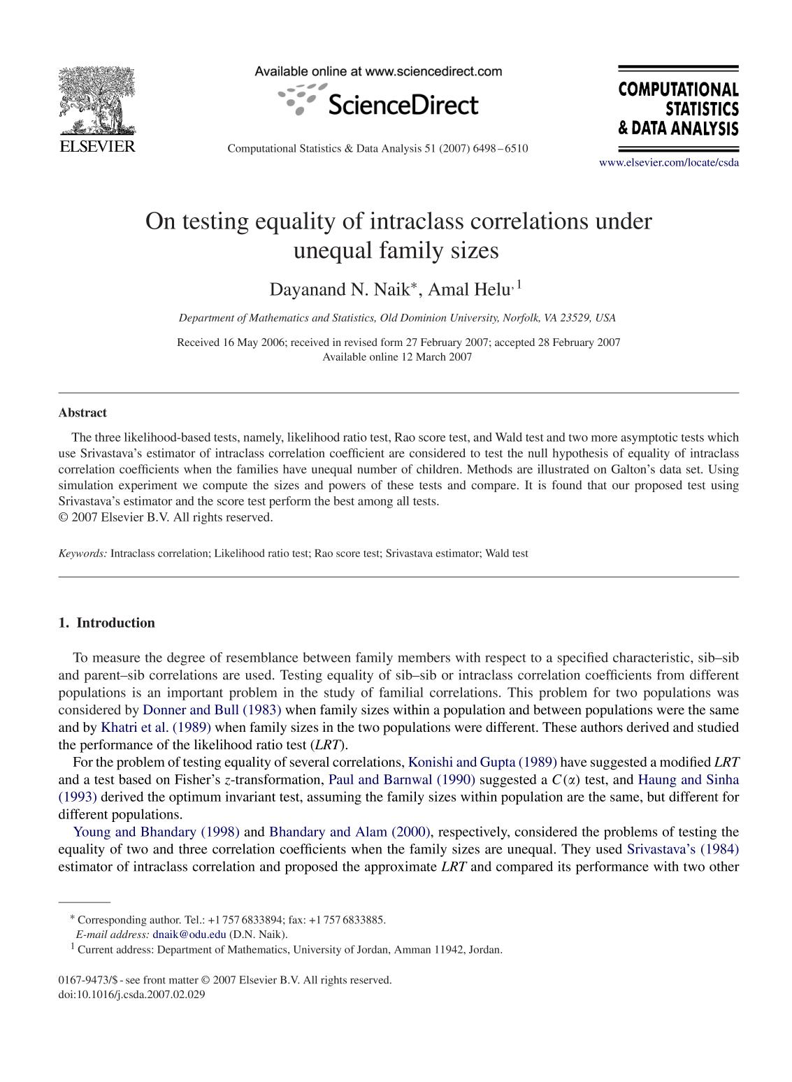 Book cover On testing equality of intraclass correlations under unequal family sizes