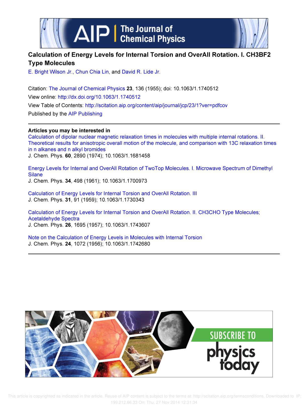 Buchcover Calculation of Energy Levels for Internal Torsion and Over-All Rotation. I. CH3BF2 Type Molecules
