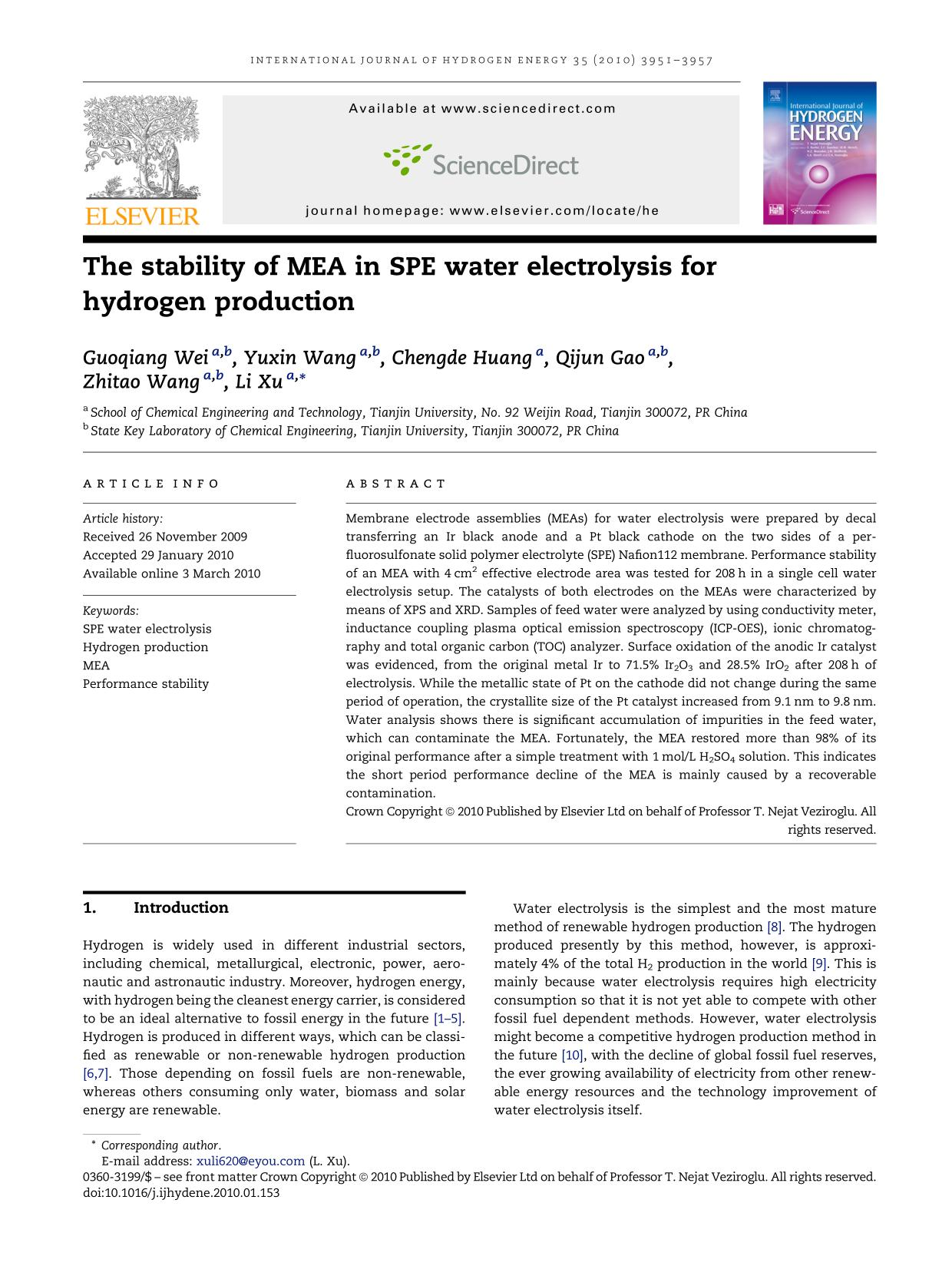 Book cover The stability of MEA in SPE water electrolysis for hydrogen production