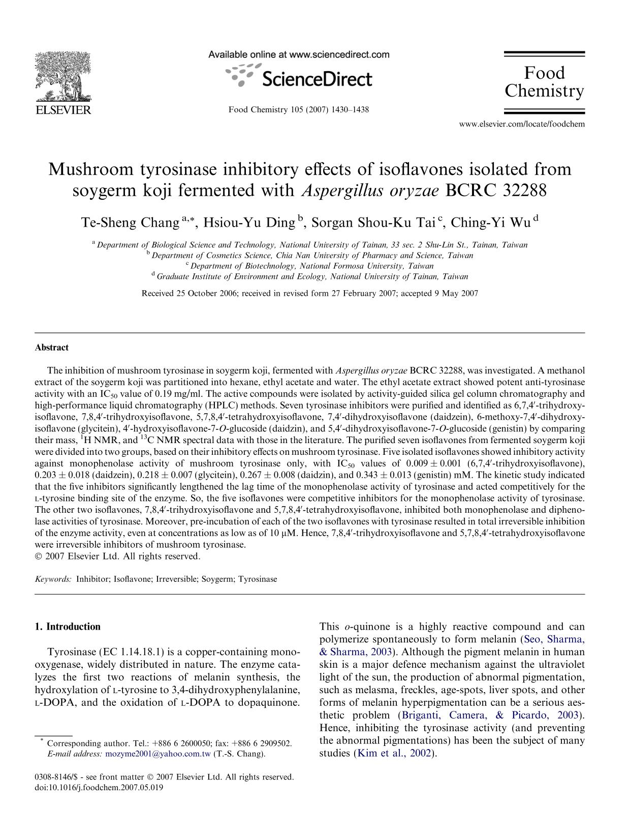 Book cover Mushroom tyrosinase inhibitory effects of isoflavones isolated from soygerm koji fermented with Aspergillus oryzae BCRC 32288