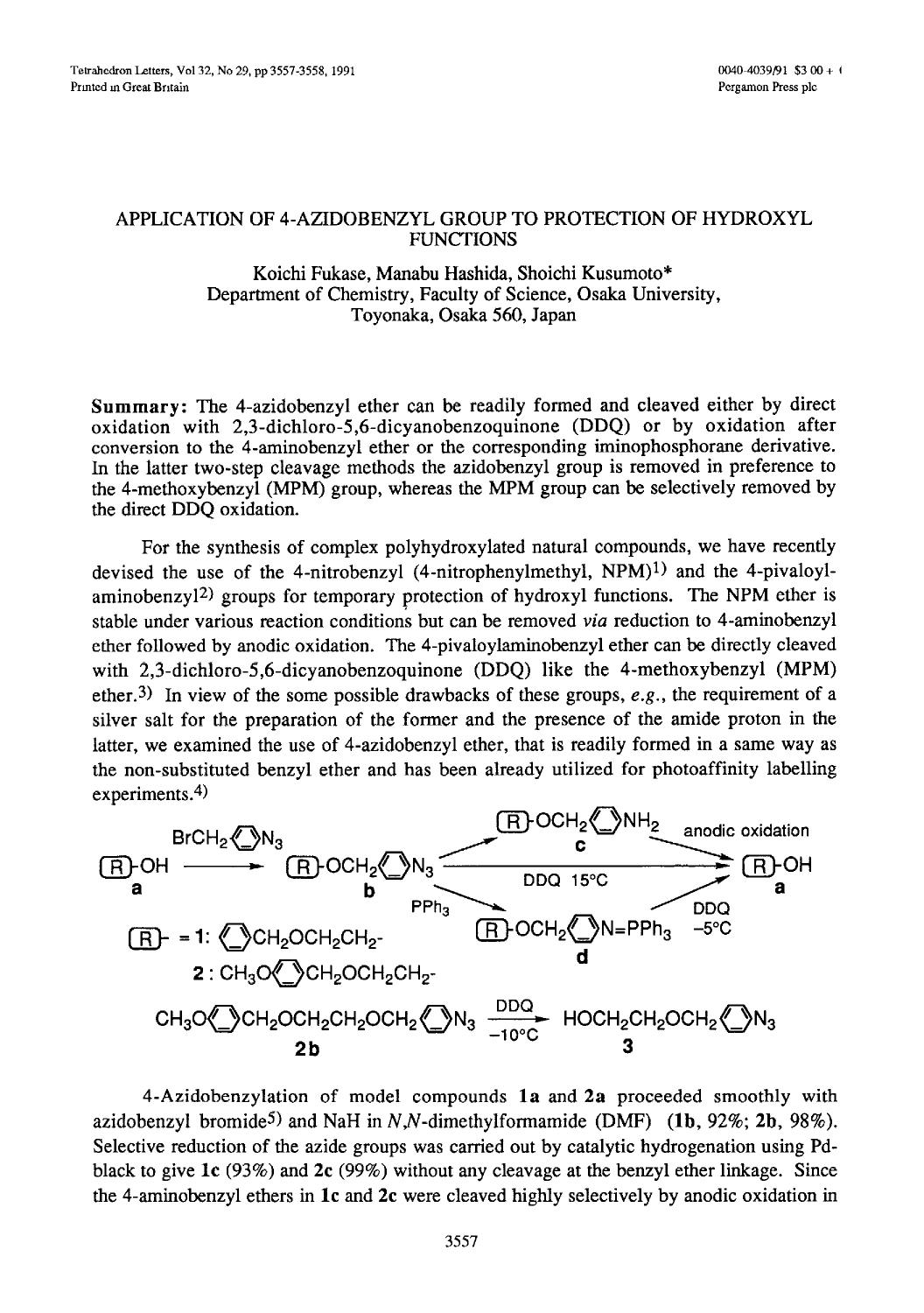 Book cover Application of 4-azidobenzyl group to protection of hydroxyl functions