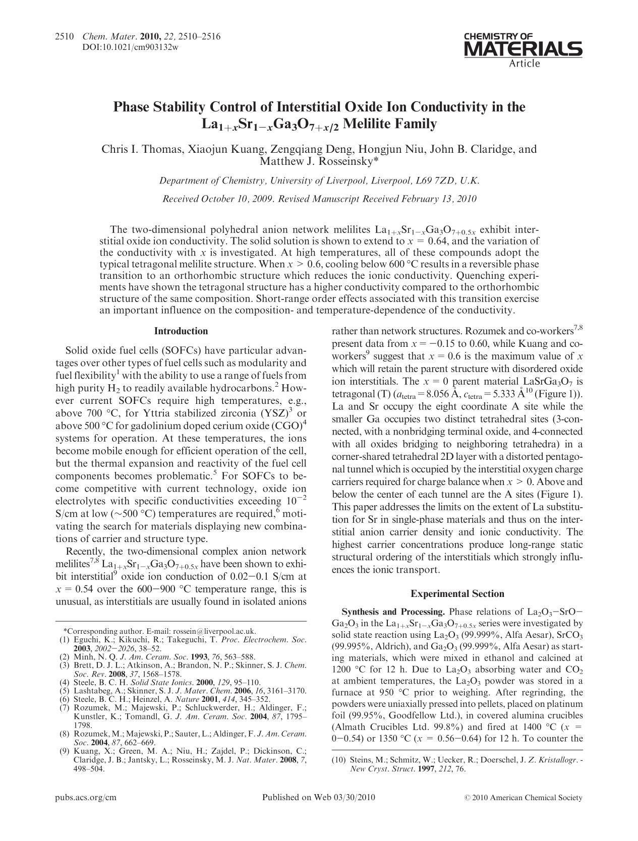 Book cover Phase Stability Control of Interstitial Oxide Ion Conductivity in the La