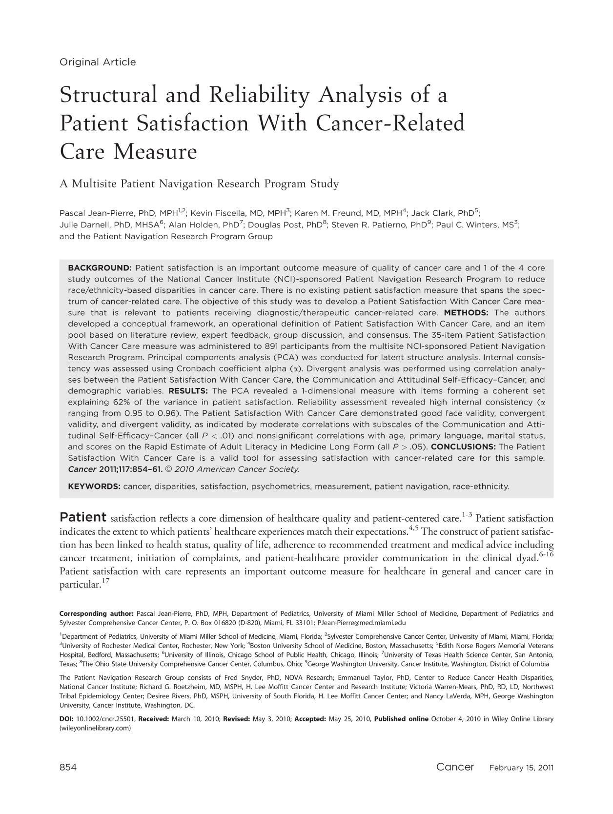 Book cover Structural and reliability analysis of a patient satisfaction with cancer-related care measure : A Multisite patient navigation research program study