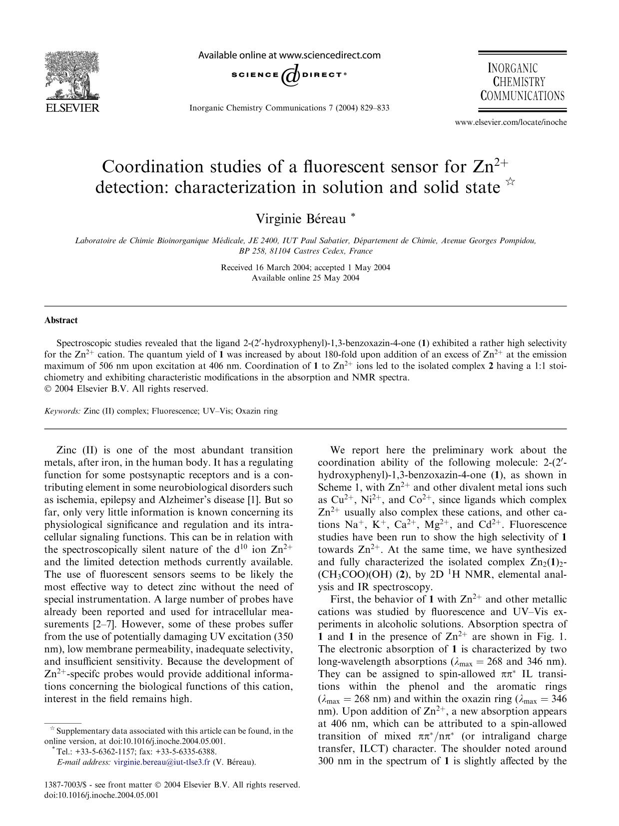 Book cover Coordination studies of a fluorescent sensor for Zn2+ detection: characterization in solution and solid state