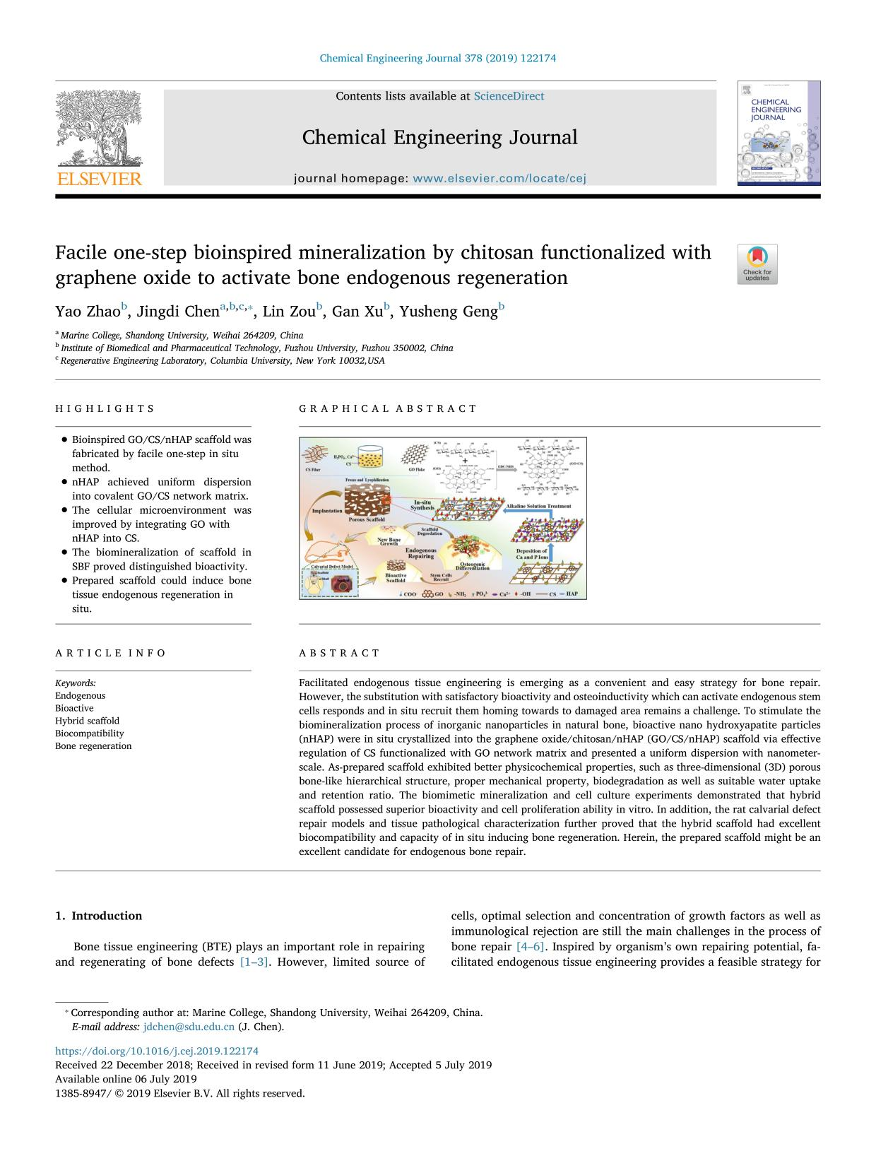 Book cover Facile one-step bioinspired mineralization by chitosan functionalized with graphene oxide to activate bone endogenous regeneration