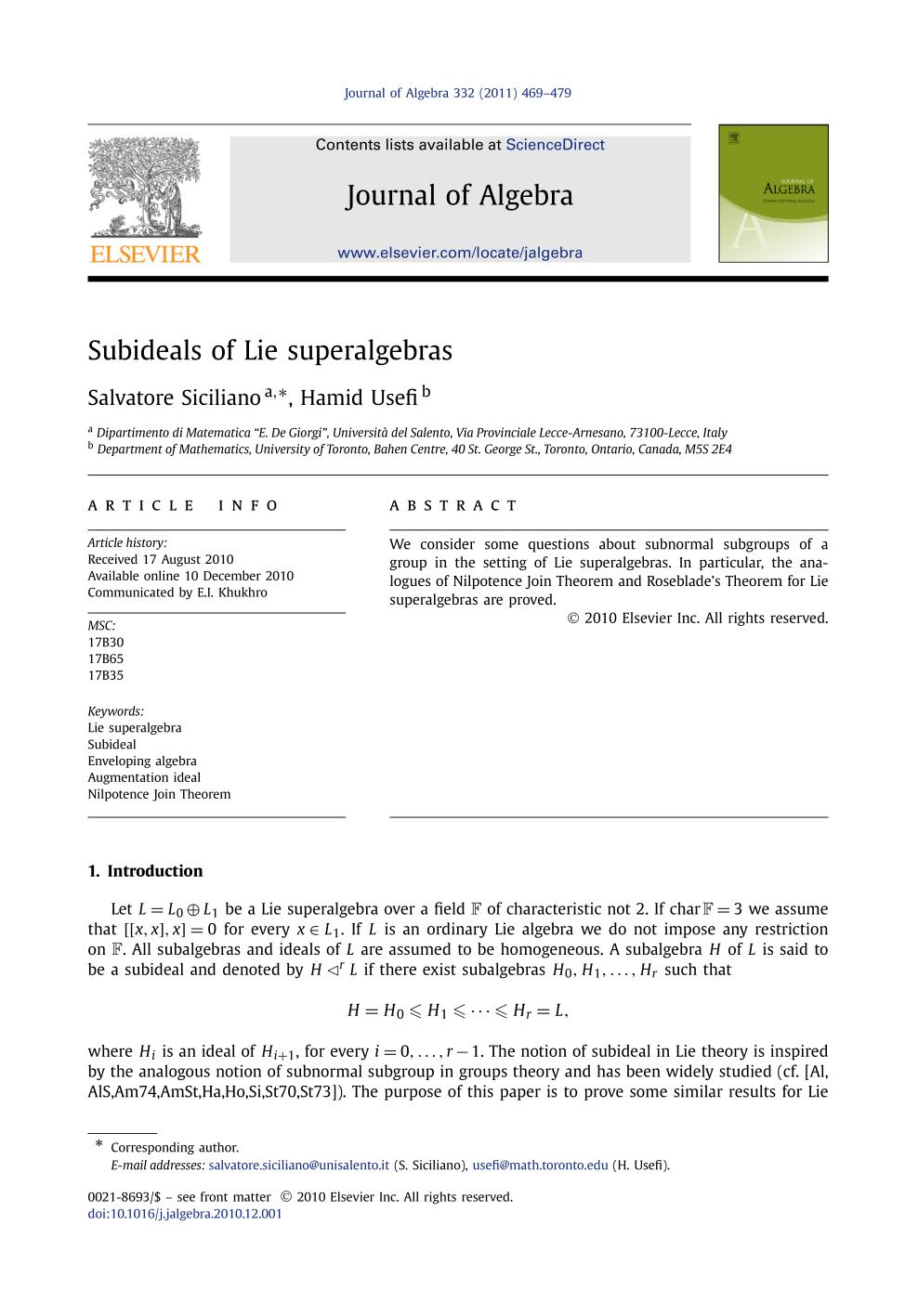 หน้าปก Subideals of Lie superalgebras