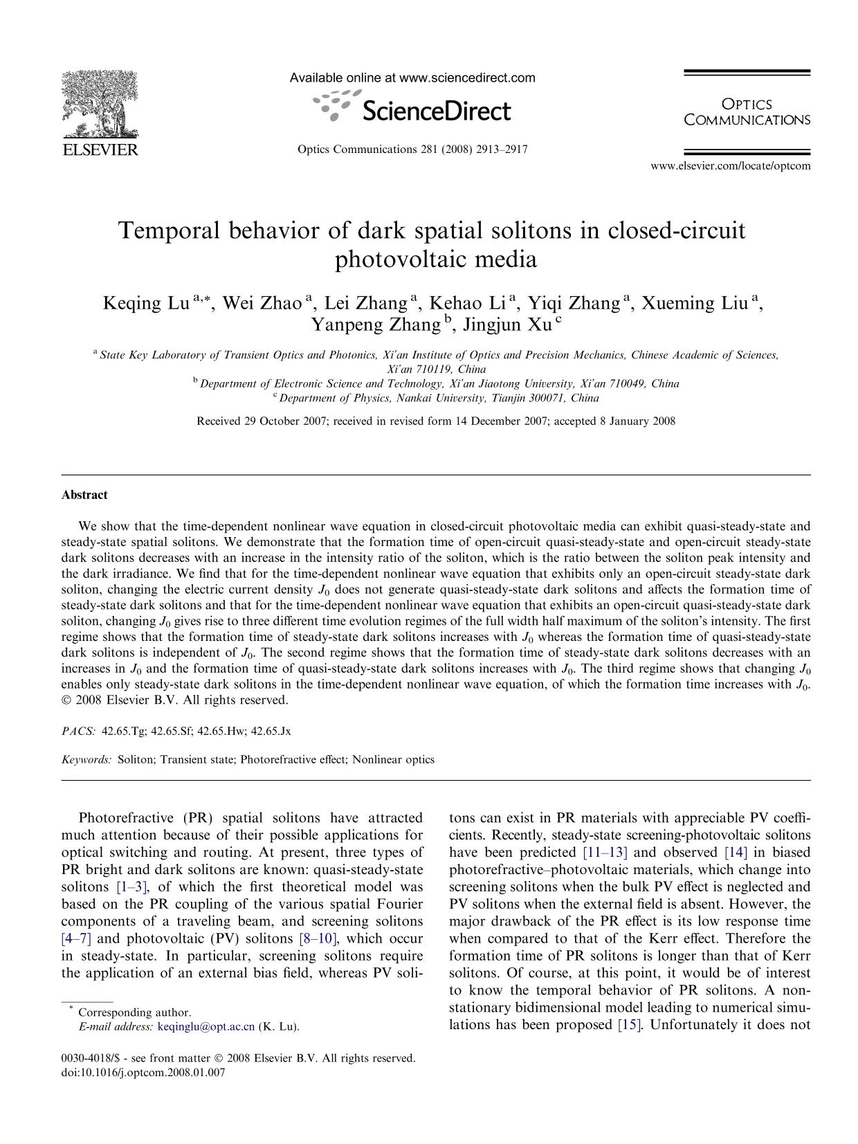 Kover buku Temporal behavior of dark spatial solitons in closed-circuit photovoltaic media