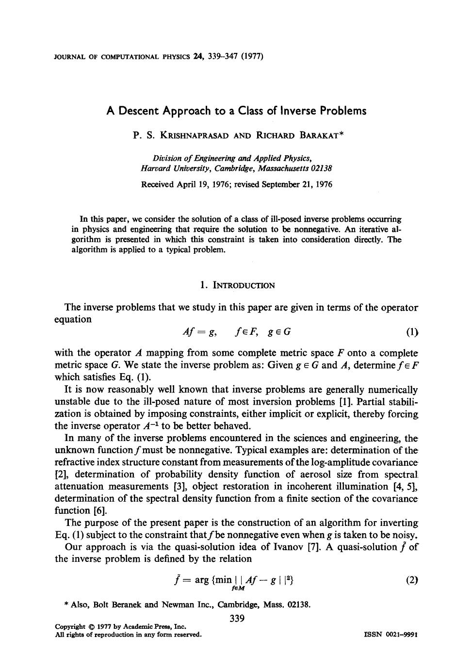 Book cover A descent approach to a class of inverse problems