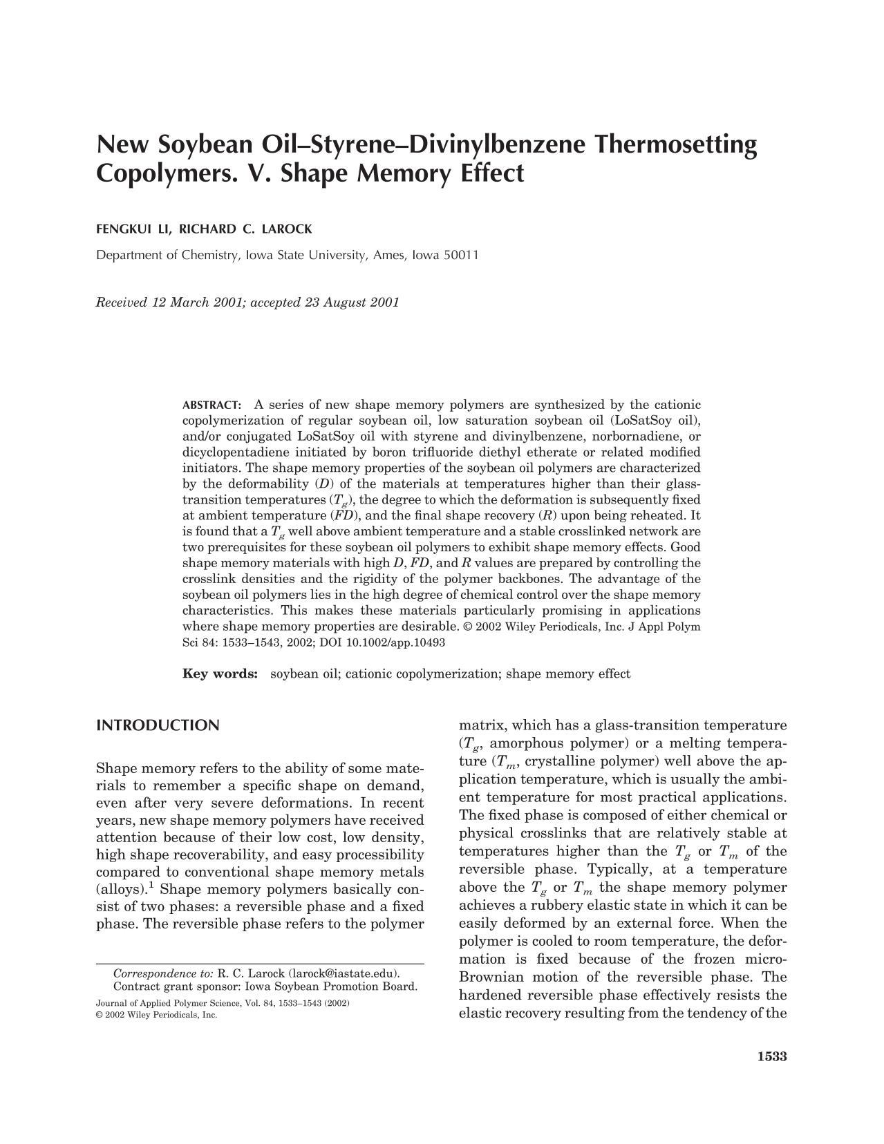 Book cover New soybean oil–styrene–divinylbenzene thermosetting copolymers. v. shape memory effect