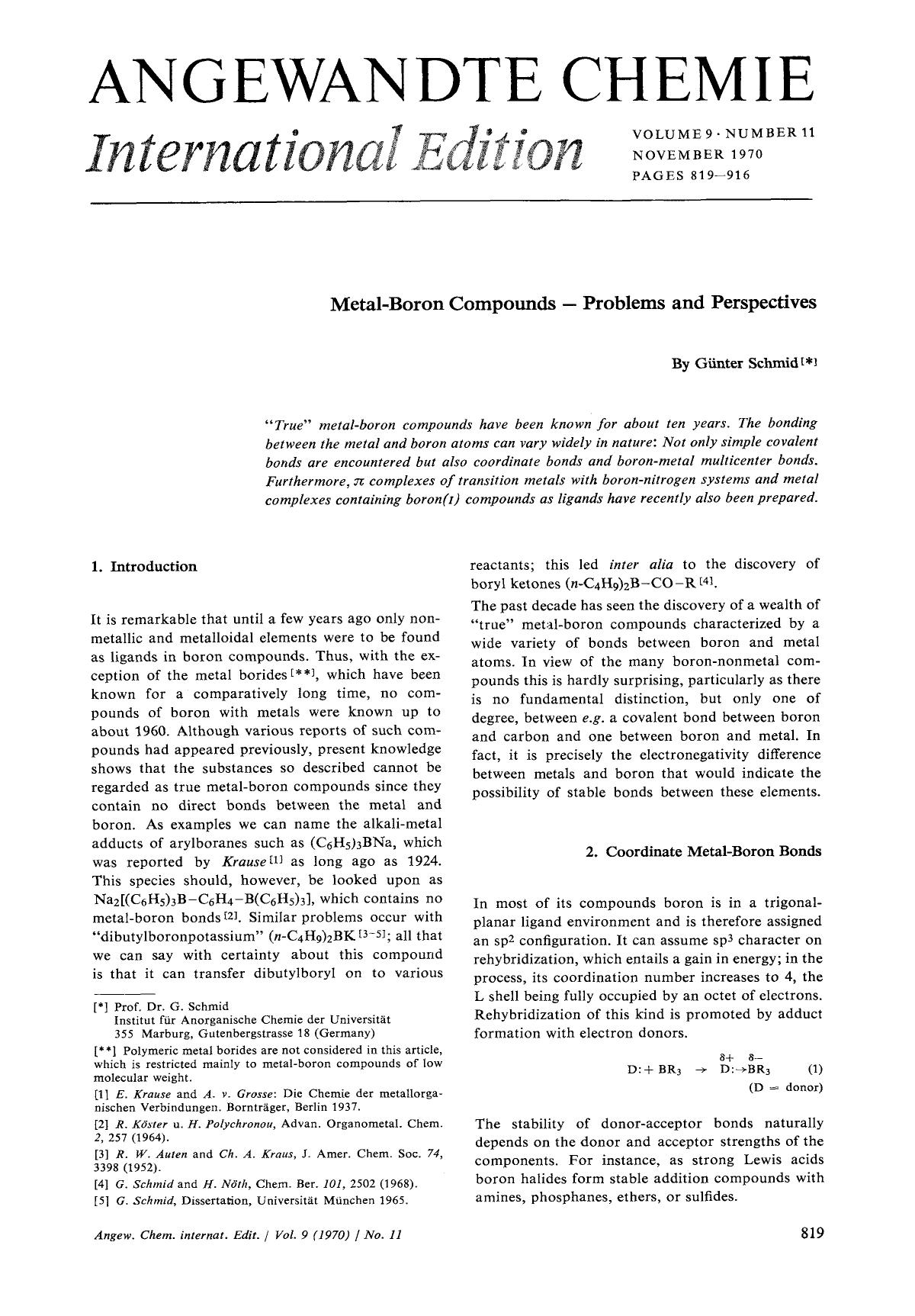 Book cover Metal-Boron Compounds – Problems and Perspectives