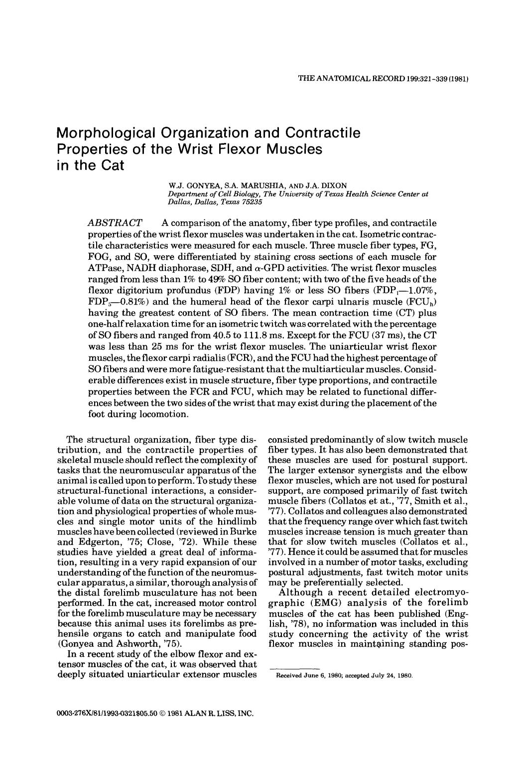 Book cover Morphological organization and contractile properties of the wrist flexor muscles in the cat