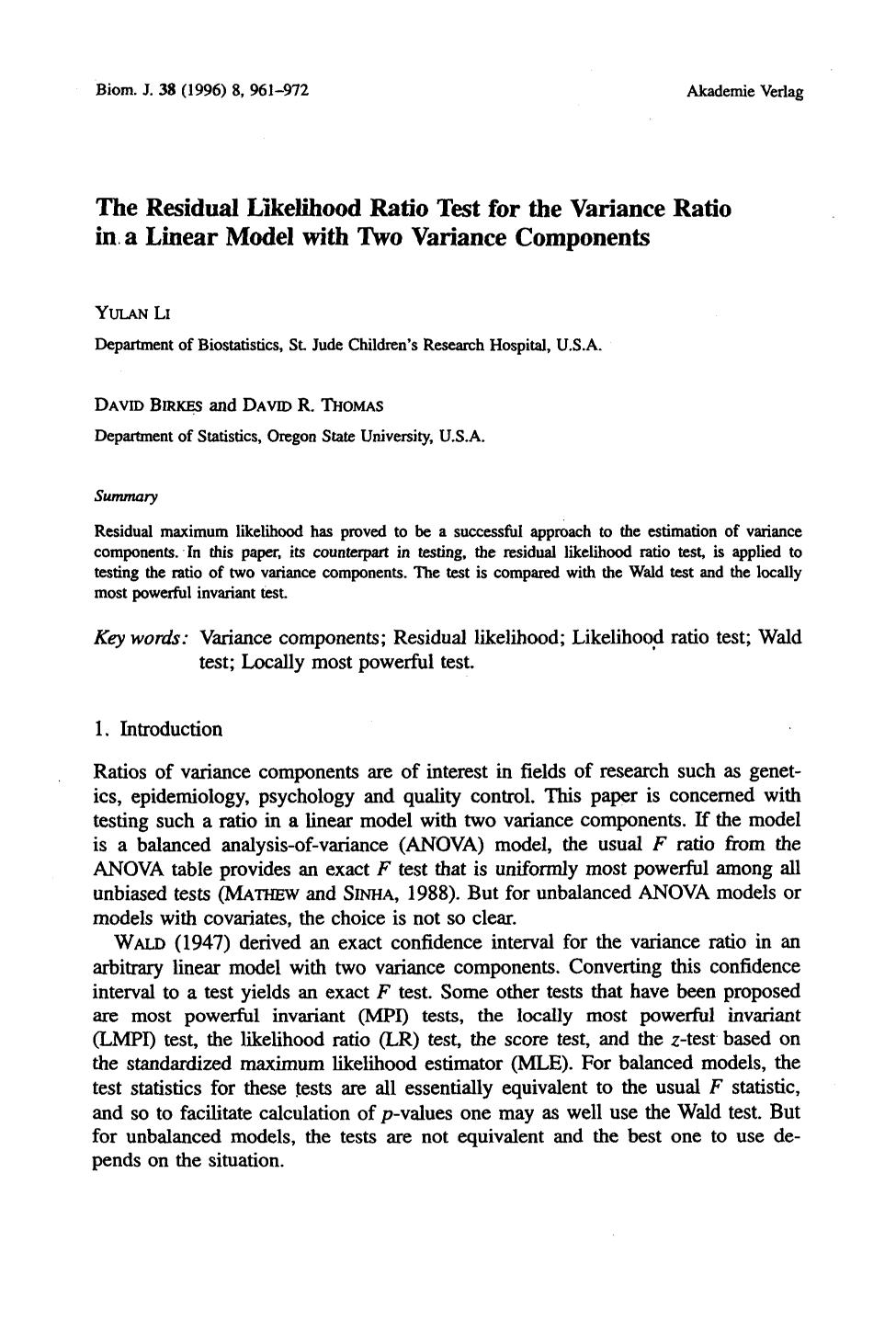 Book cover The Residual Likelihood Ratio Test for the Variance Ratio in a Linear Model with Two Variance Components