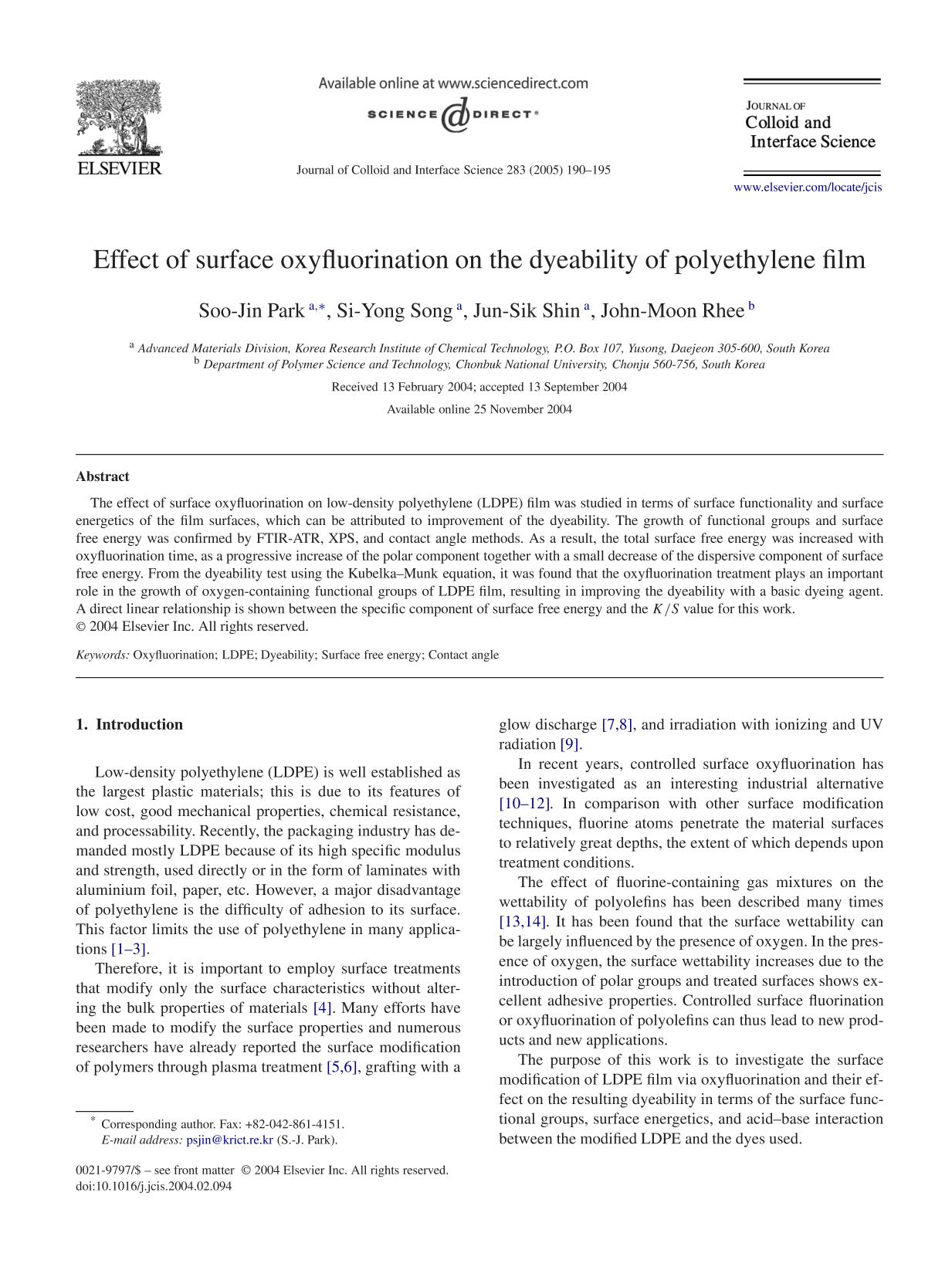 Book cover Effect of surface oxyfluorination on the dyeability of polyethylene film
