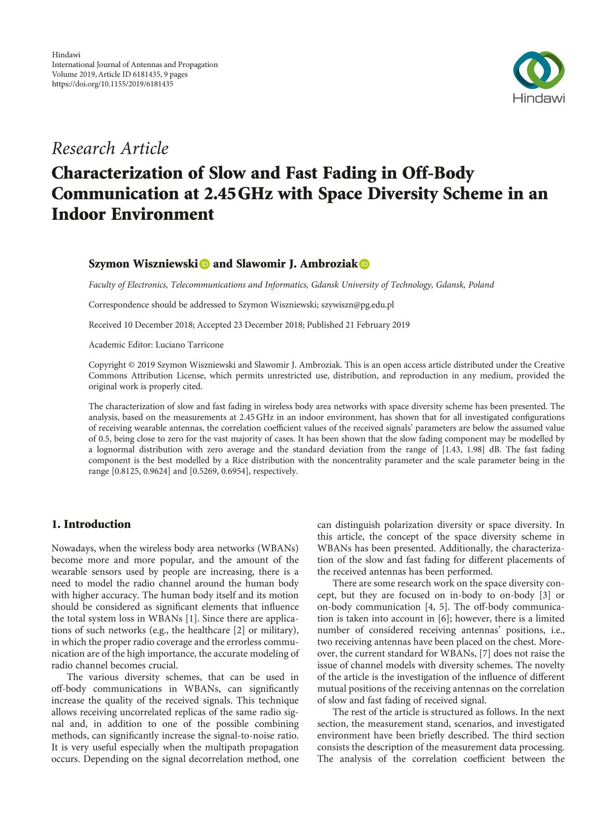 Book cover Characterization of Slow and Fast Fading in Off-Body Communication at 2.45 GHz with Space Diversity Scheme in an Indoor Environment