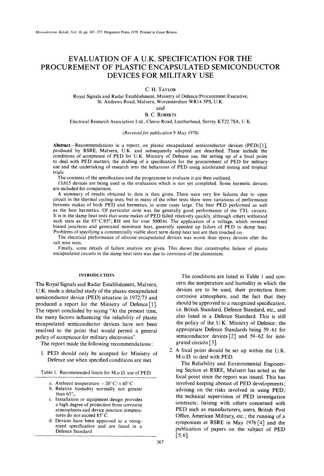 Book cover Evaluation of a U.K. specification for the procurement of plastic encapsulated semiconductor devices for military use