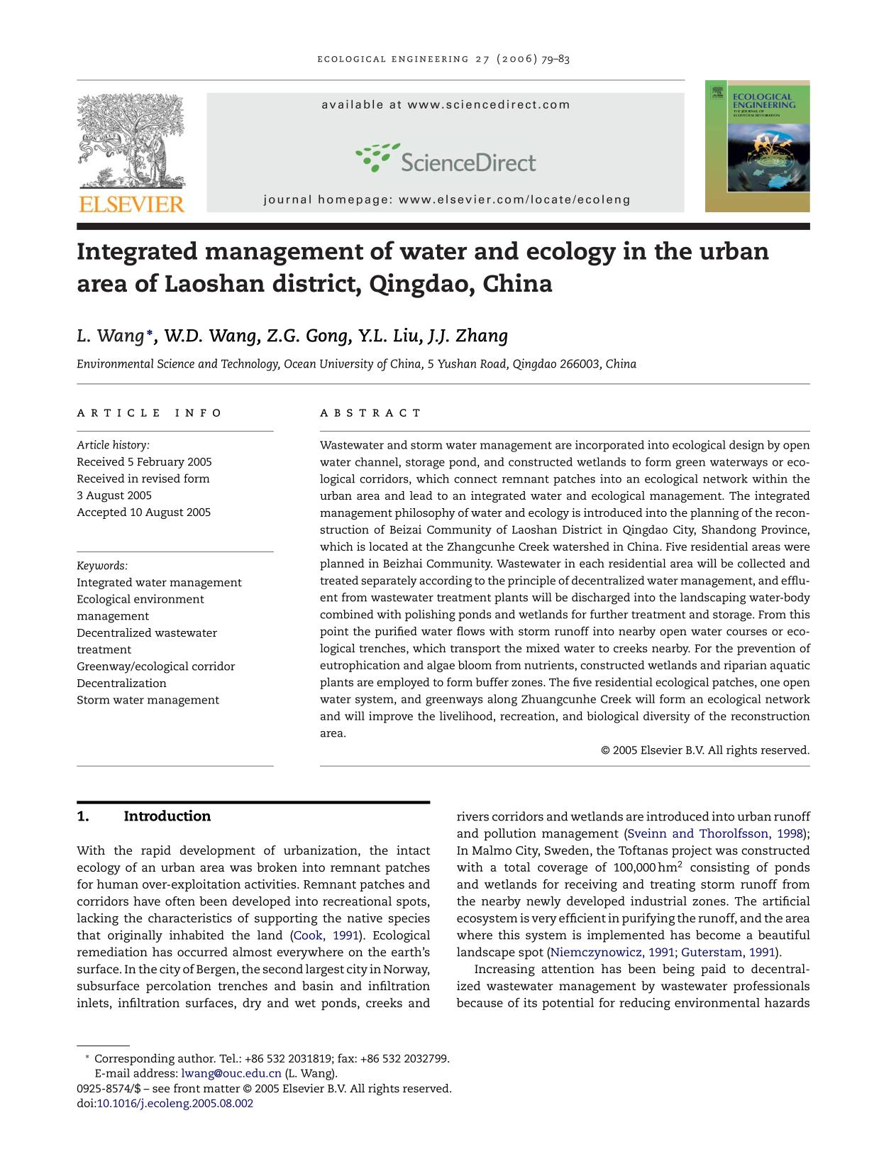Book cover Integrated management of water and ecology in the urban area of Laoshan district, Qingdao, China