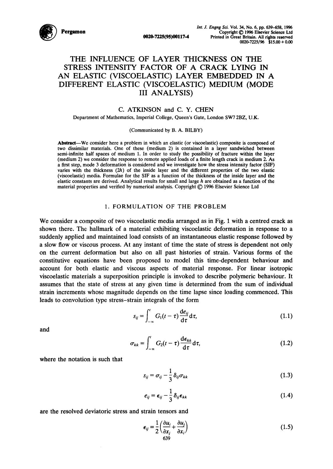 Book cover The influence of layer thickness on the stress intensity factor of a crack lying in an elastic (viscoelastic) layer embedded in a different elastic (viscoelastic) medium (mode IIIanalysis