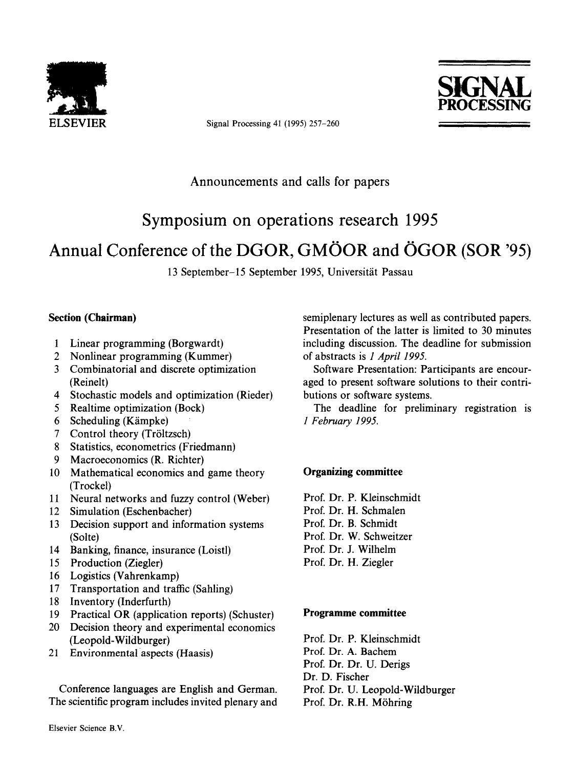 Kover buku Symposium on operations research 1995 Annual Conference of the DGOR, GMÖOR and ÖGOR (SOR '95) : 13 September–15 September 1995, Universität Passau