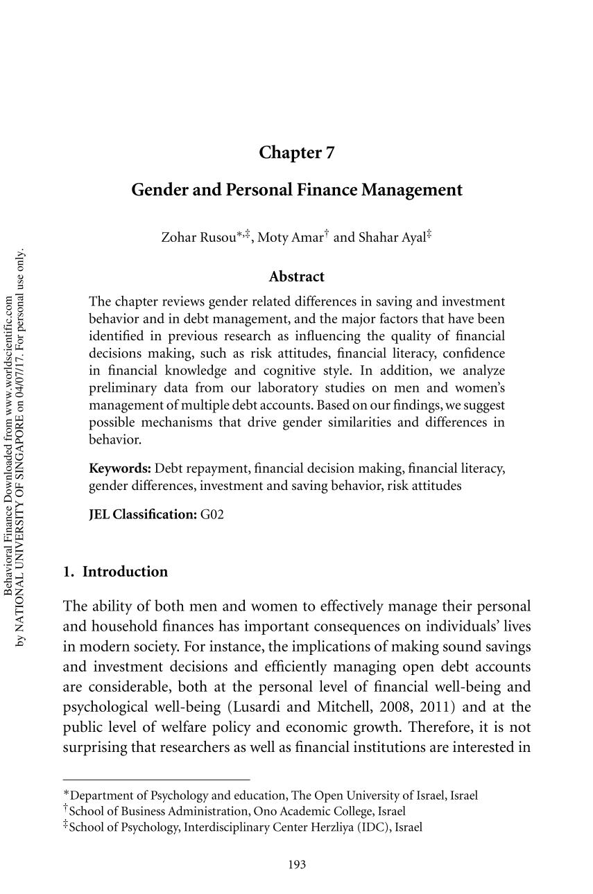 Book cover Behavioral Finance (Where Do Investors' Biases Come From?) || Gender and Personal Finance Management
