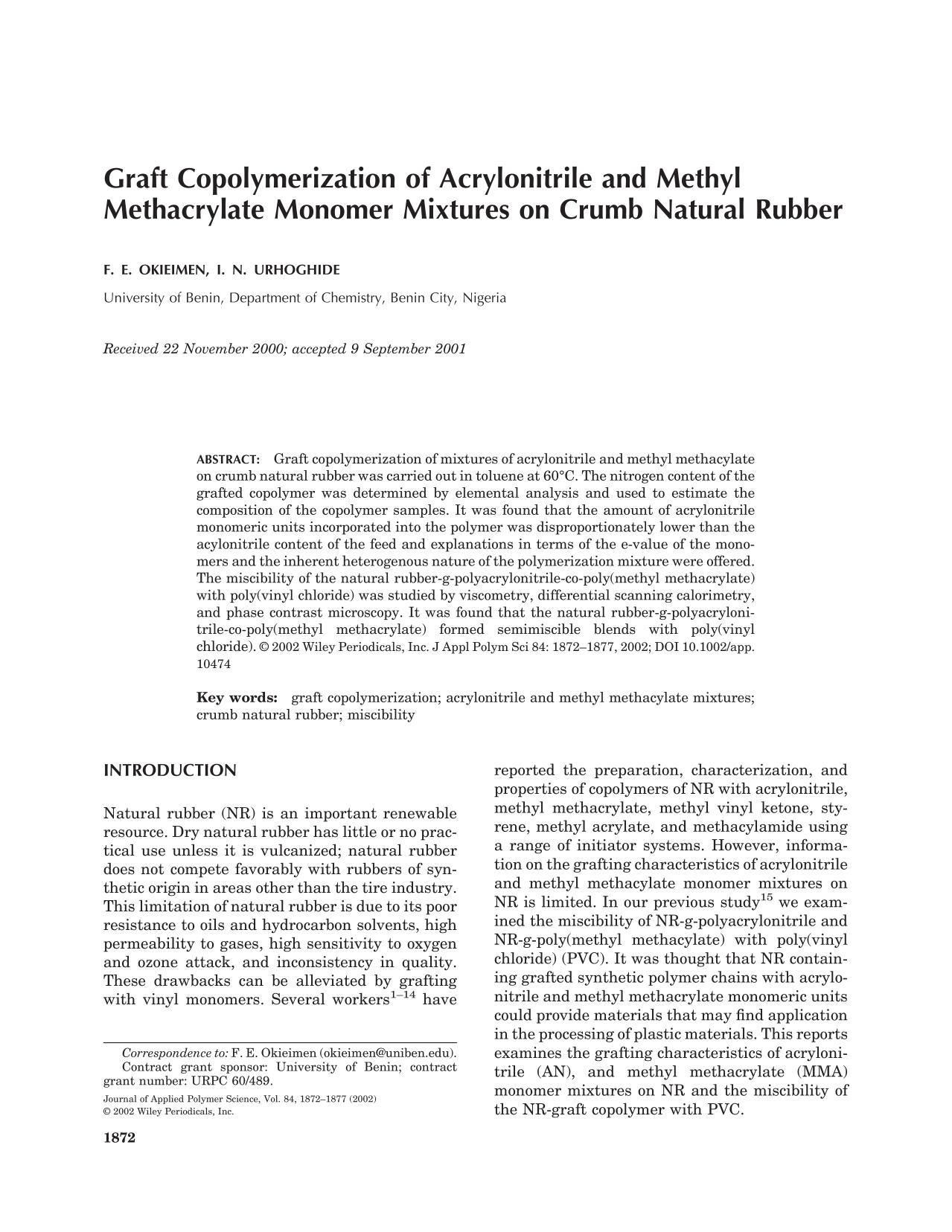 Book cover Graft copolymerization of acrylonitrile and methyl methacrylate monomer mixtures on crumb natural rubber