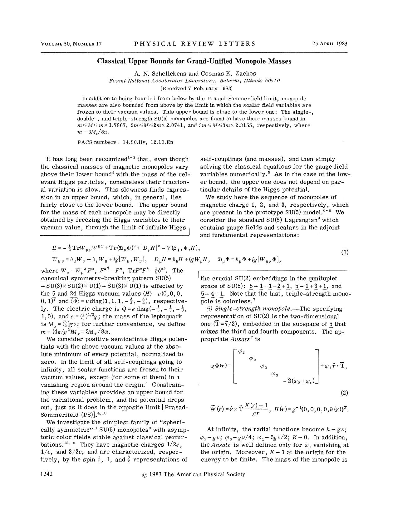 Book cover Classical Upper Bounds for Grand-Unified Monopole Masses